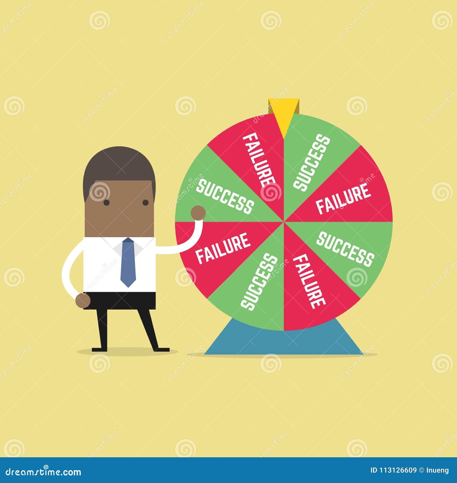 Homem de negócios africano e resultado da roda da fortuna