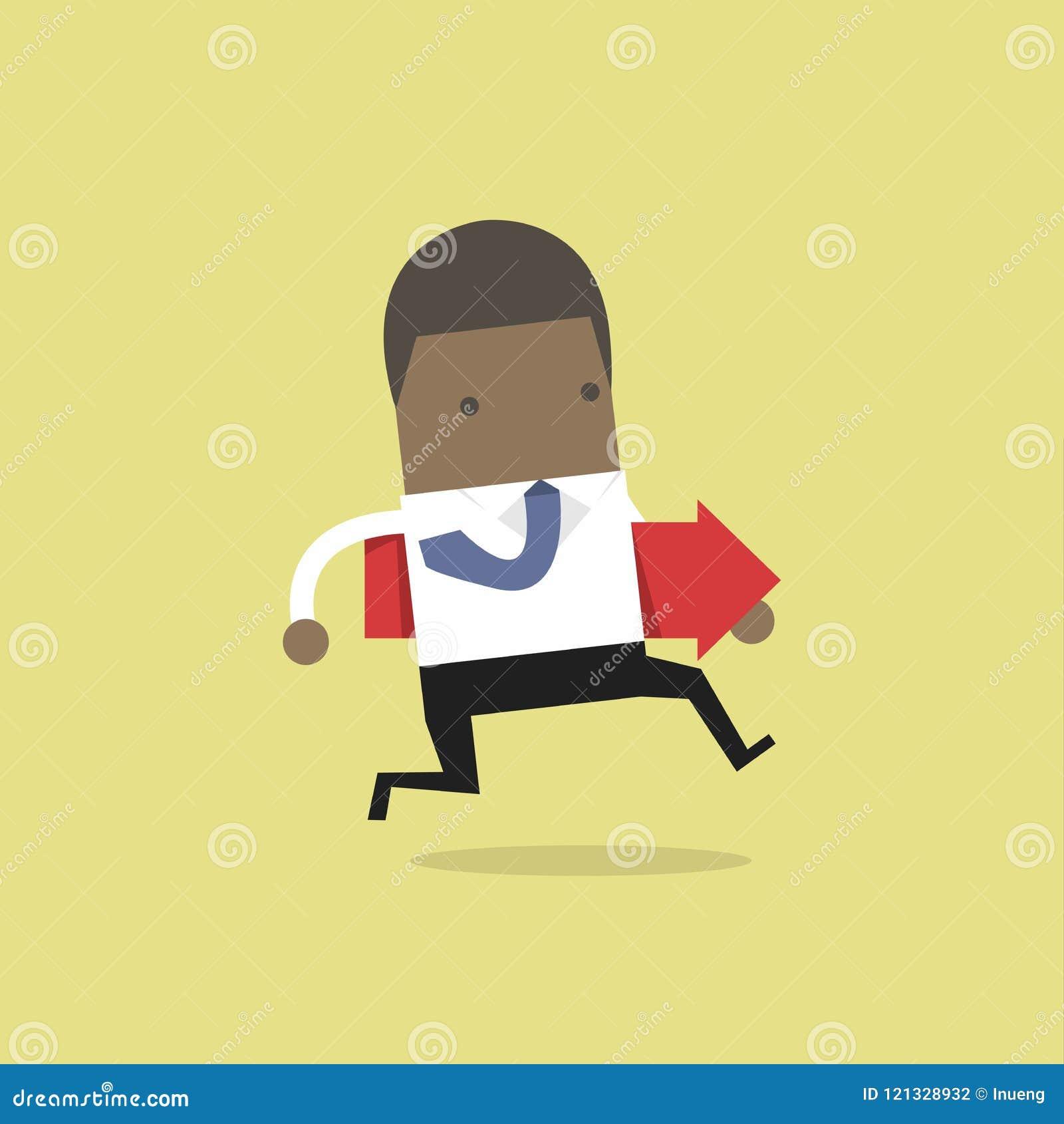Homem de negócios africano que corre e que guarda a seta vermelha