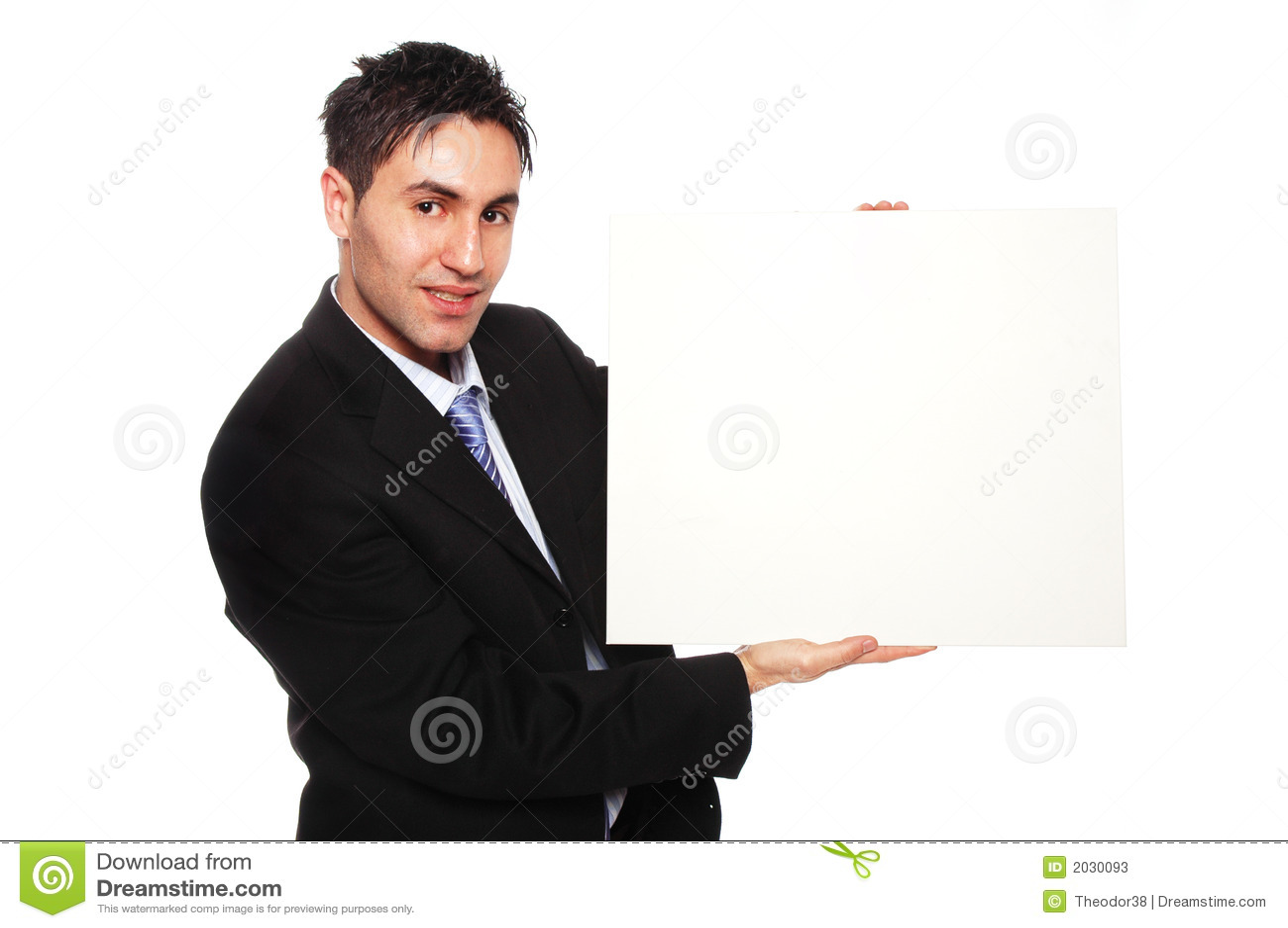 Homem de negócios bem sucedido e cartão em branco