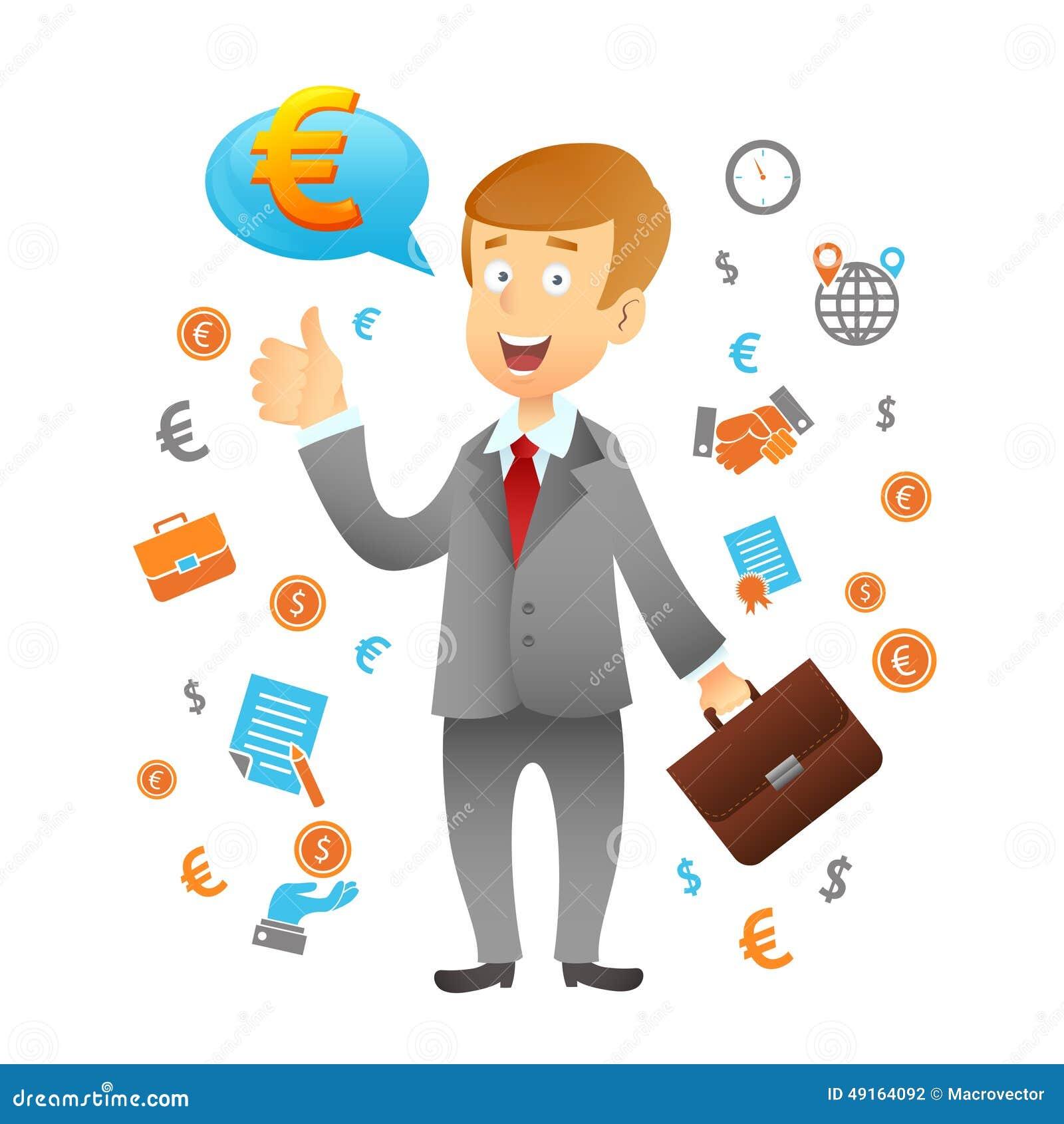 Homem de negócios And Business Icons