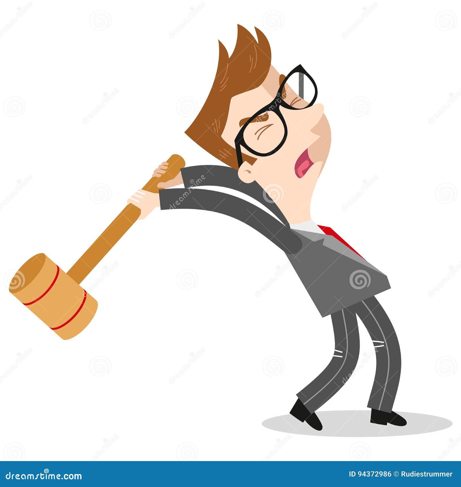 Homem de negócios caucasiano furioso que grita e que balança um malho