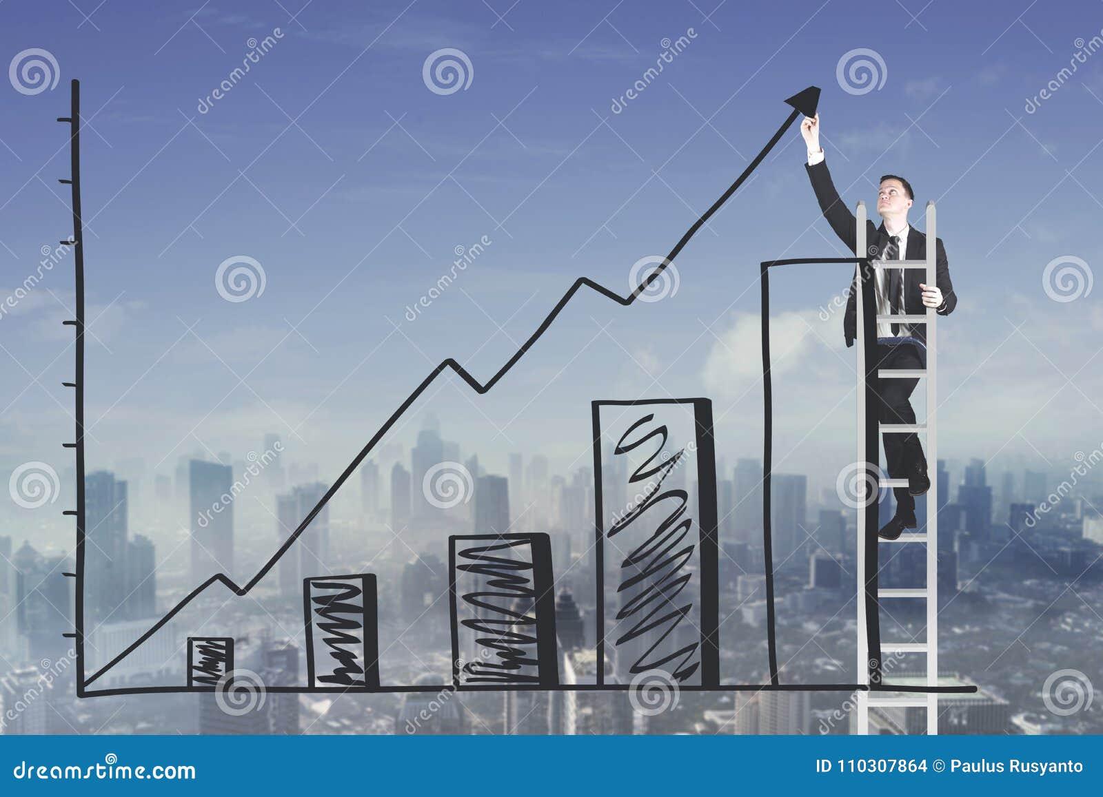 Homem de negócios caucasiano que tira uma carta crescente do lucro de negócio