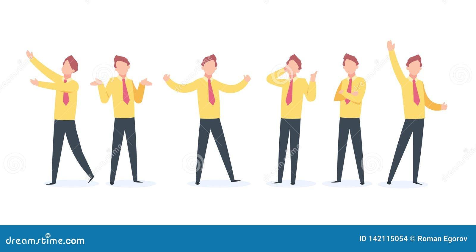 Homem de negócios Character dos desenhos animados Salto feliz da corrida da mosca do indivíduo do negócio, alegria lisa da silhue