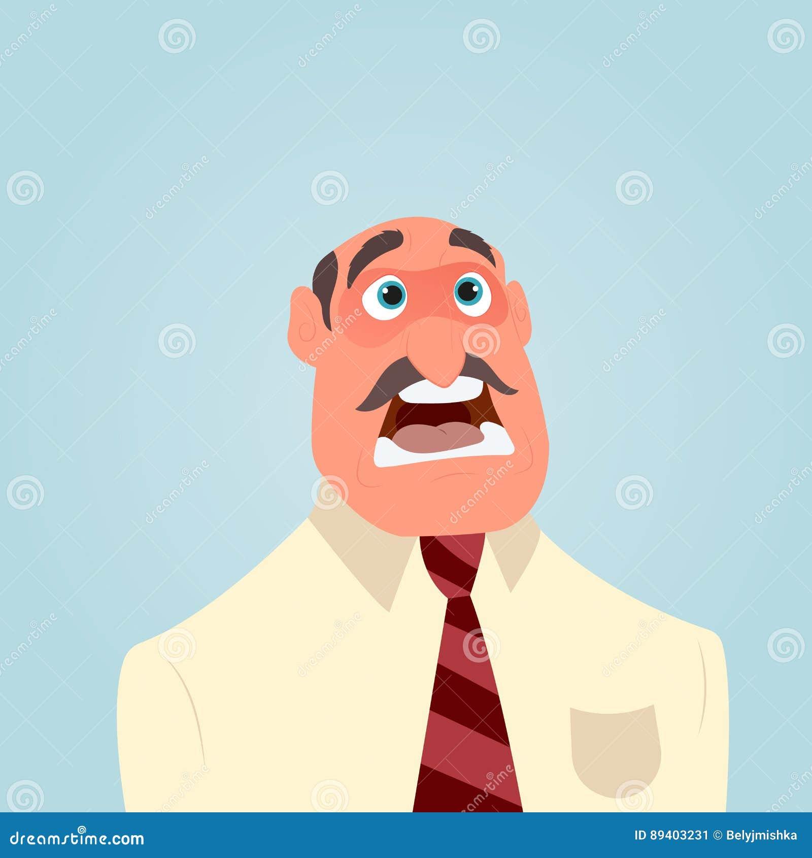 Homem de negócios chocado ou surpreendido com a boca largamente aberta