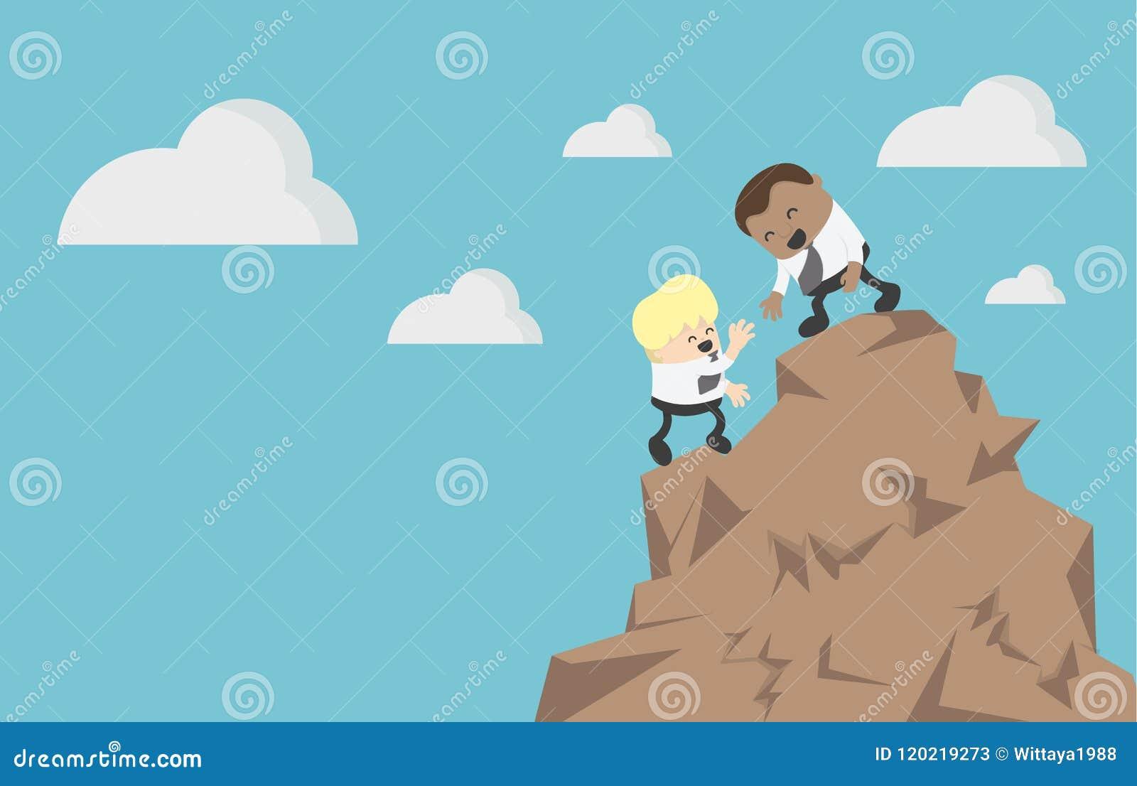 Homem de negócios CLI do conceito dois da ajuda e do auxílio do negócio do conceito