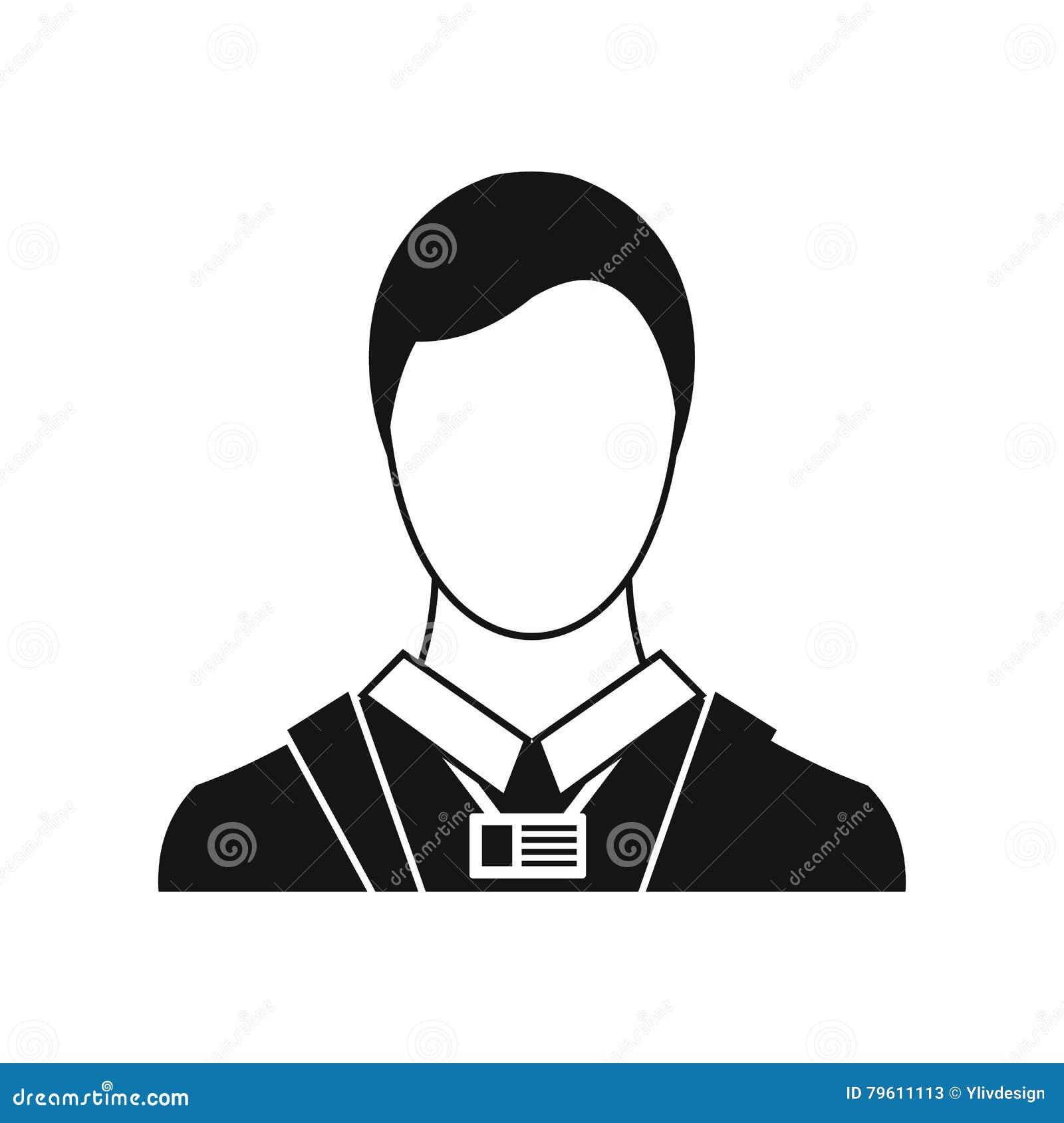 Homem de negócios com ícone do cartão de nome da identidade