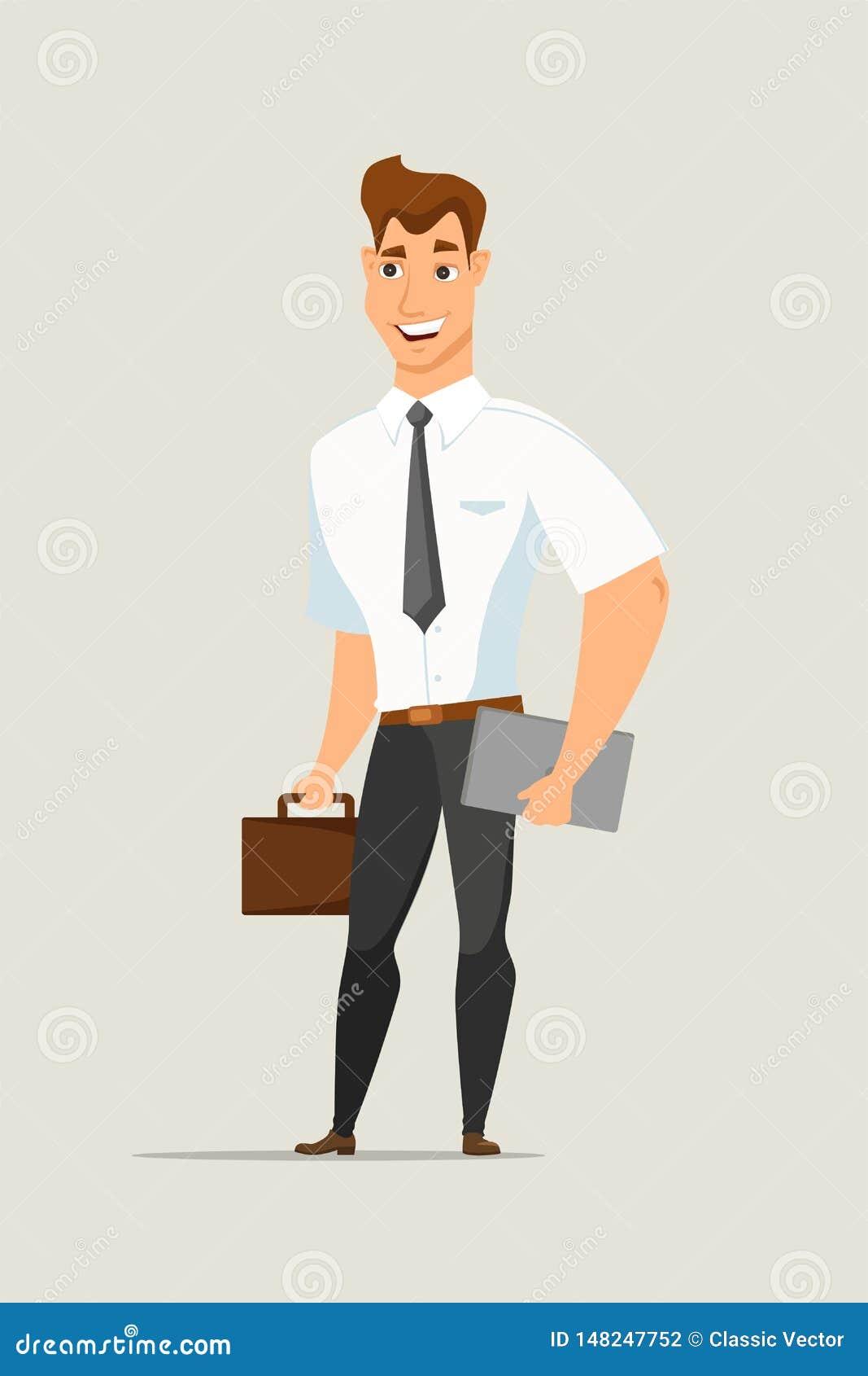 Homem de negócios com caráter liso do vetor da pasta