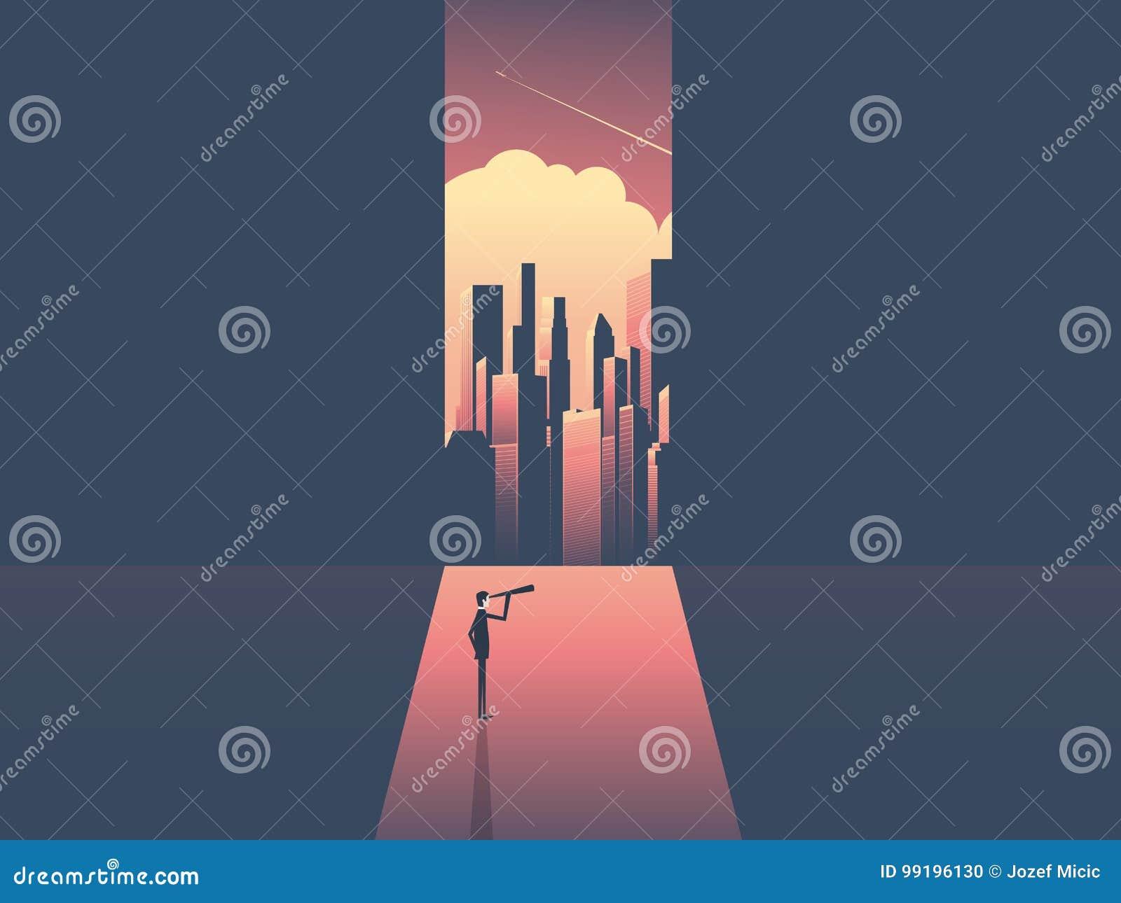 Homem de negócios com o telescópio que olha a skyline do mundo incorporado moderno Sucesso comercial, oportunidade, desafio e