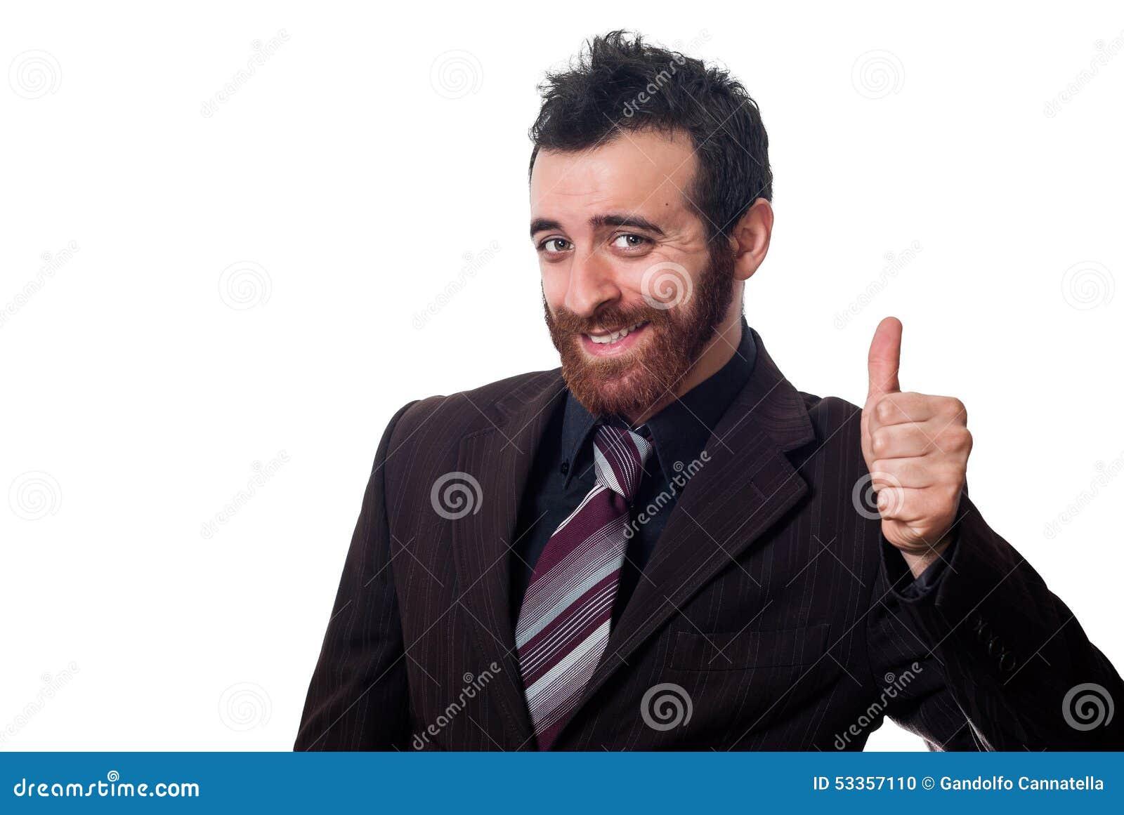 Homem de negócios com polegar acima no branco
