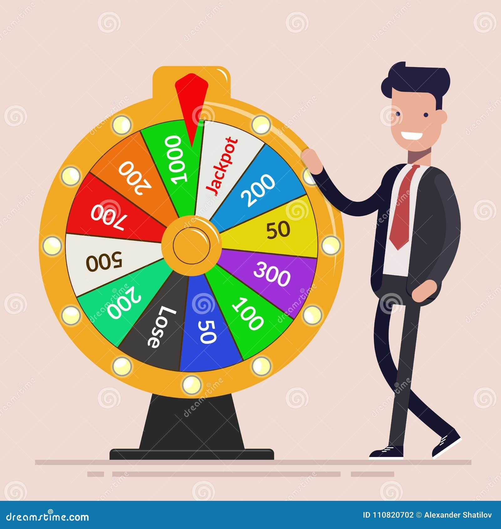 Homem de negócios com roda da fortuna Conceito do negócio Ilustração lisa do vetor isolada no fundo claro