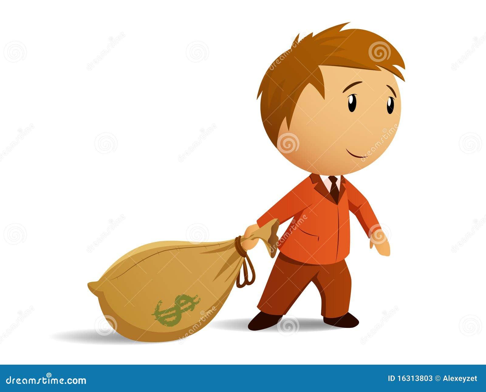 Homem de negócios com saco do dinheiro