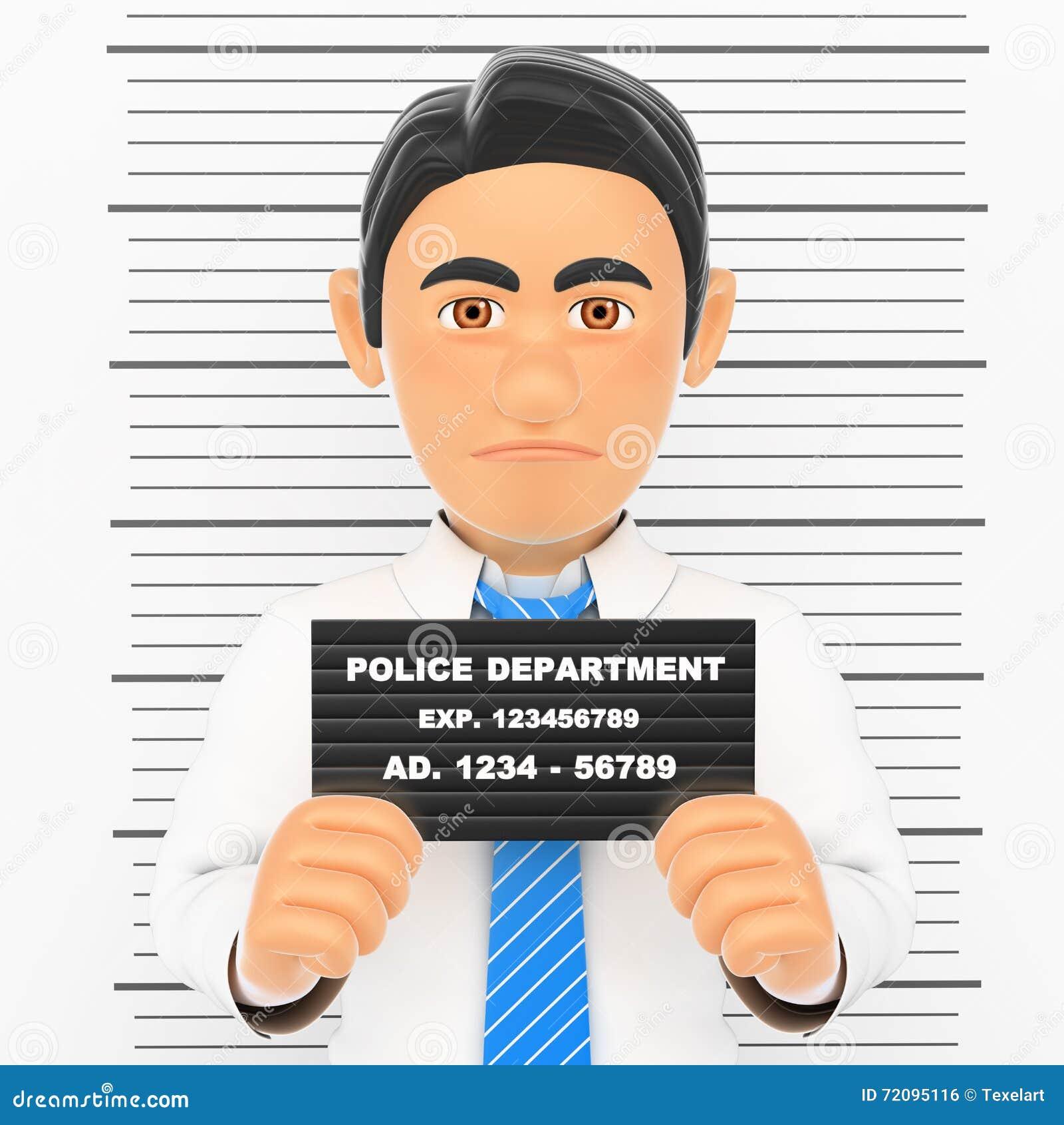 Homem de negócios 3D prendido Foto branca da polícia criminosa do colar