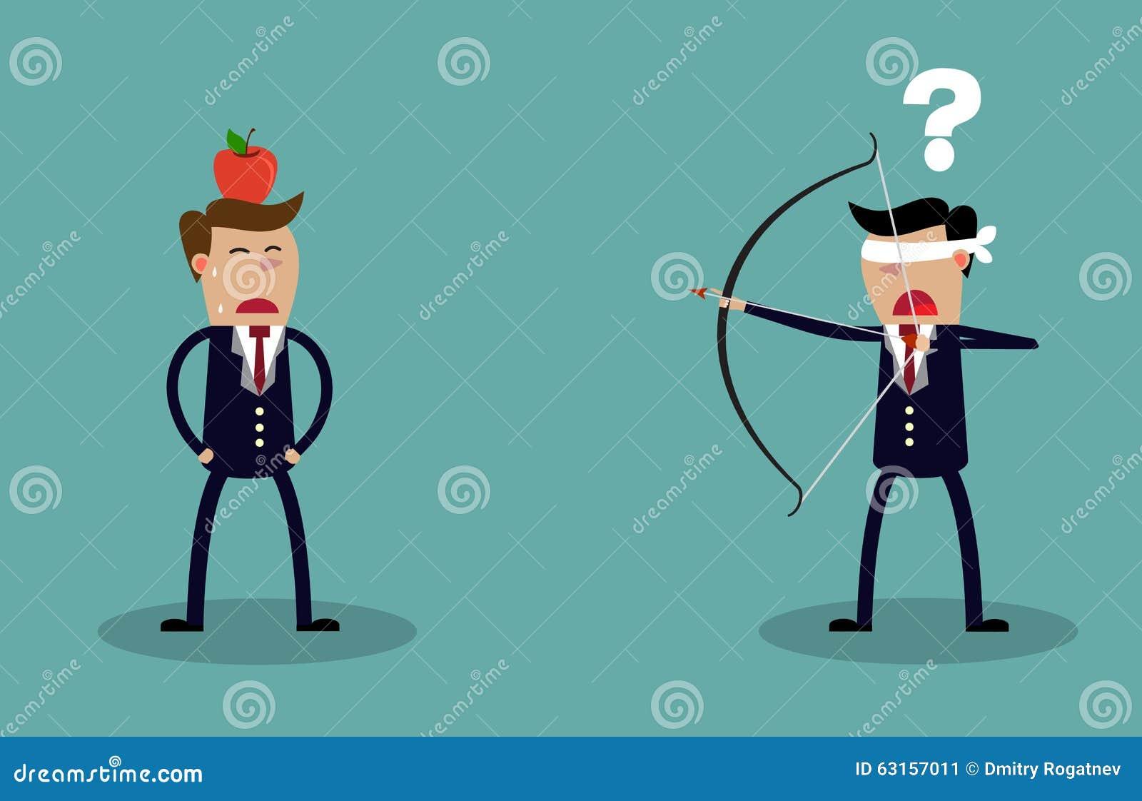 Homem de negócios da venda que aponta disparar na maçã