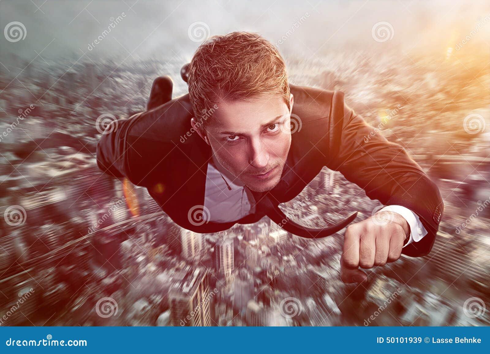 Homem de negócios do super-herói