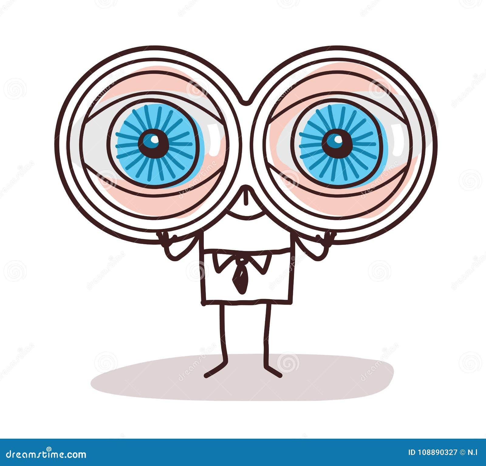 Homem De Negocios Dos Desenhos Animados Com Os Olhos Grandes Dos