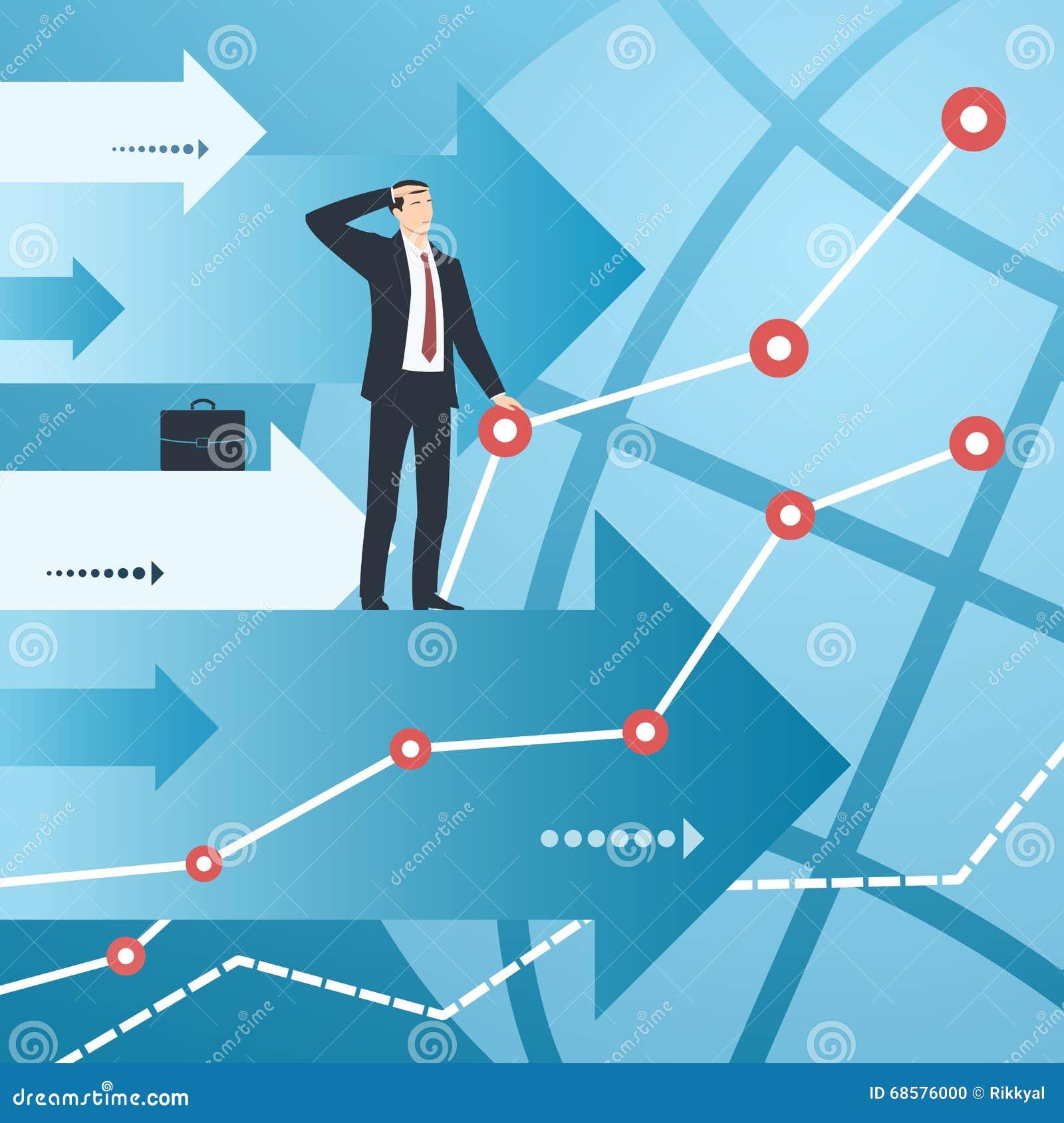 Homem de negócios e gráficos com crescimento de indicadores financeiros