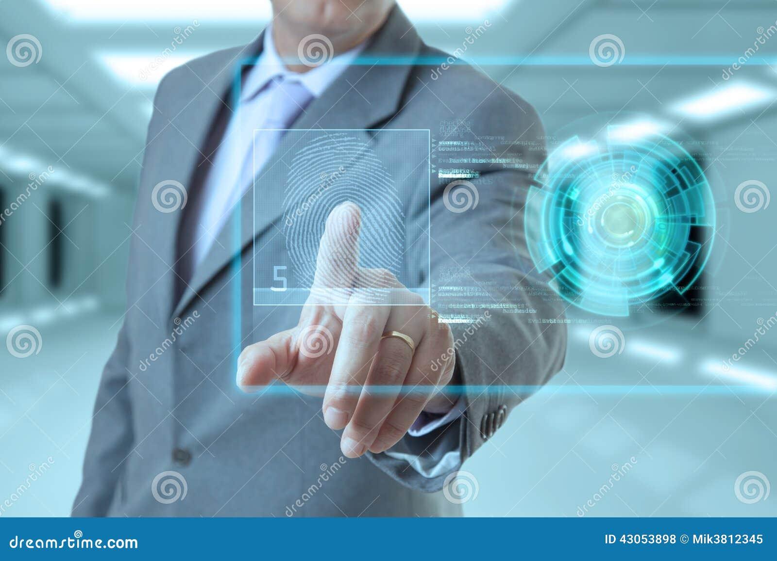 Homem de negócios e impressão digital