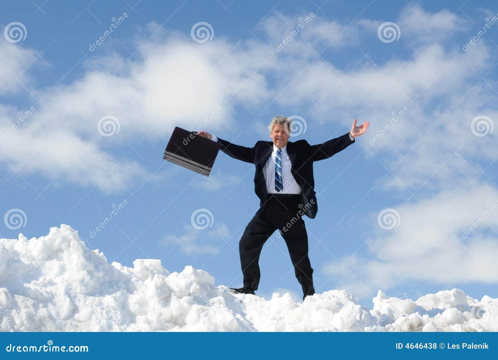 Homem de negócios feliz com pasta