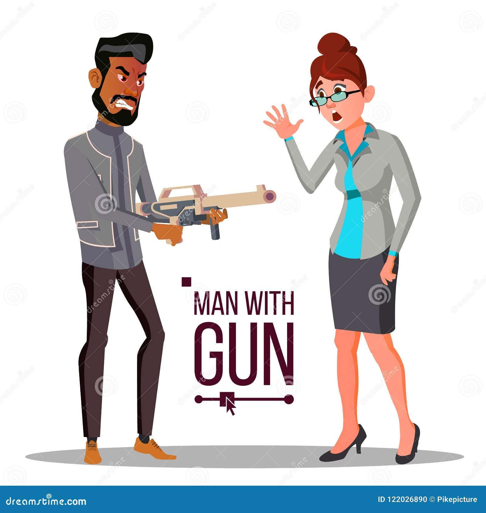 Homem de negócios With Gun Vetora unsuccessful Conceito da bancarrota Ilustração lisa isolada