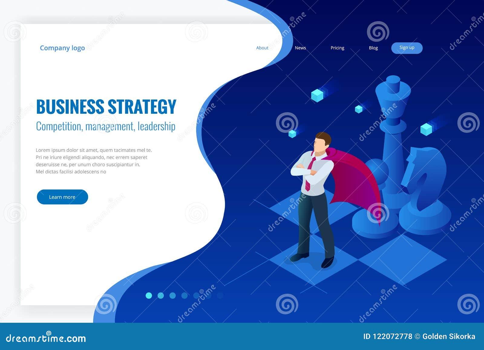 Homem de negócios isométrico que está na placa de xadrez Estratégia, gestão, conceito da liderança Estratégia empresarial