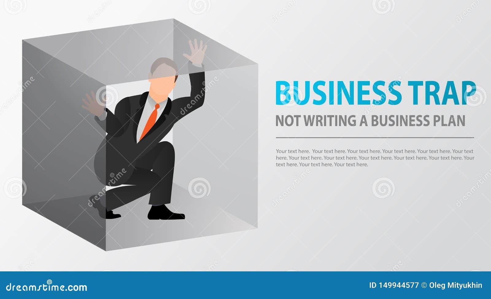 Homem de negócios liso prendido dentro da caixa pequena incômoda claustrophobia Medo de espaços fechados Problemas e falha de neg