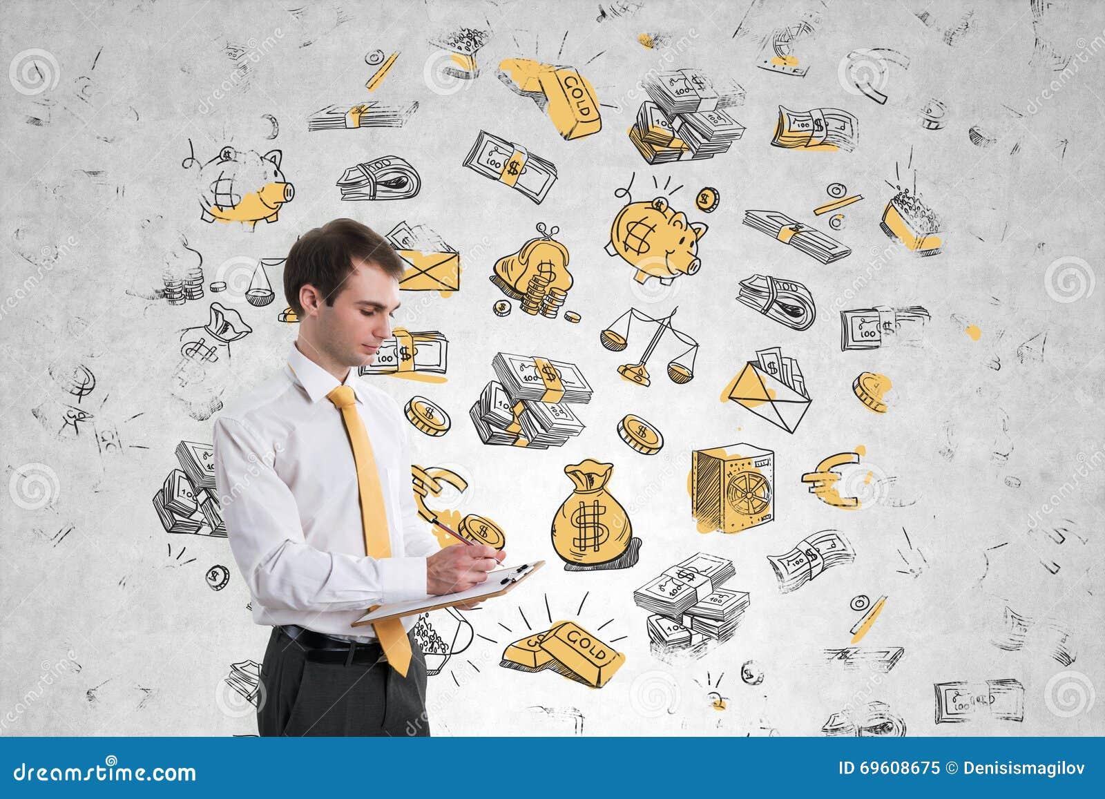 Homem de negócios na parede do dinheiro