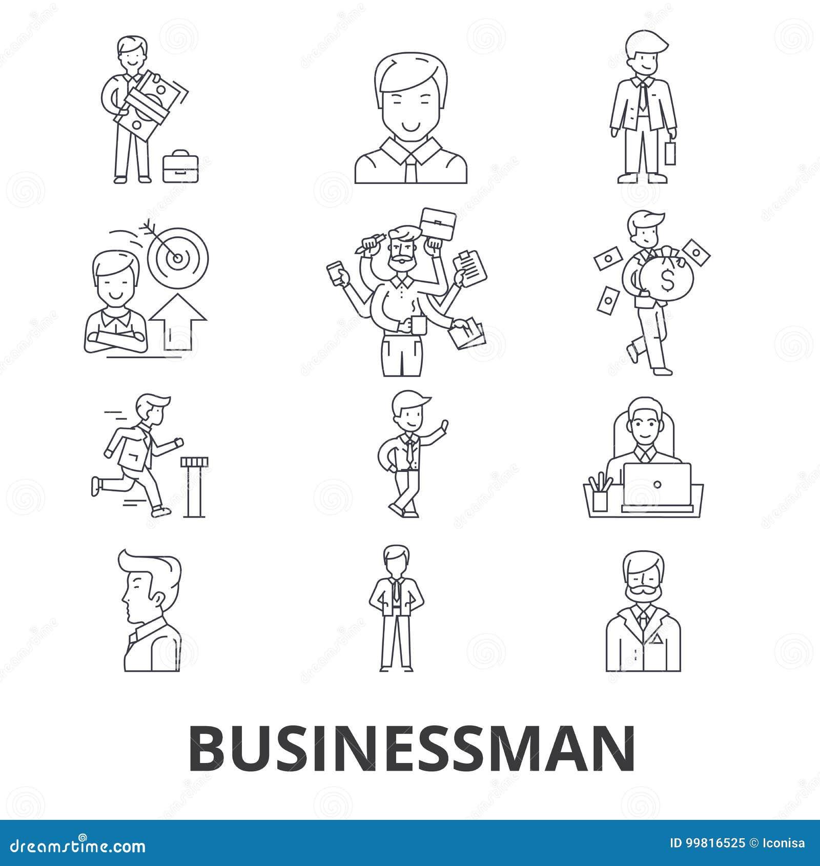 Homem de negócios, negócio, reunião de negócios, finança, conceito, incorporado, linha ícones do sucesso Cursos editáveis Projeto