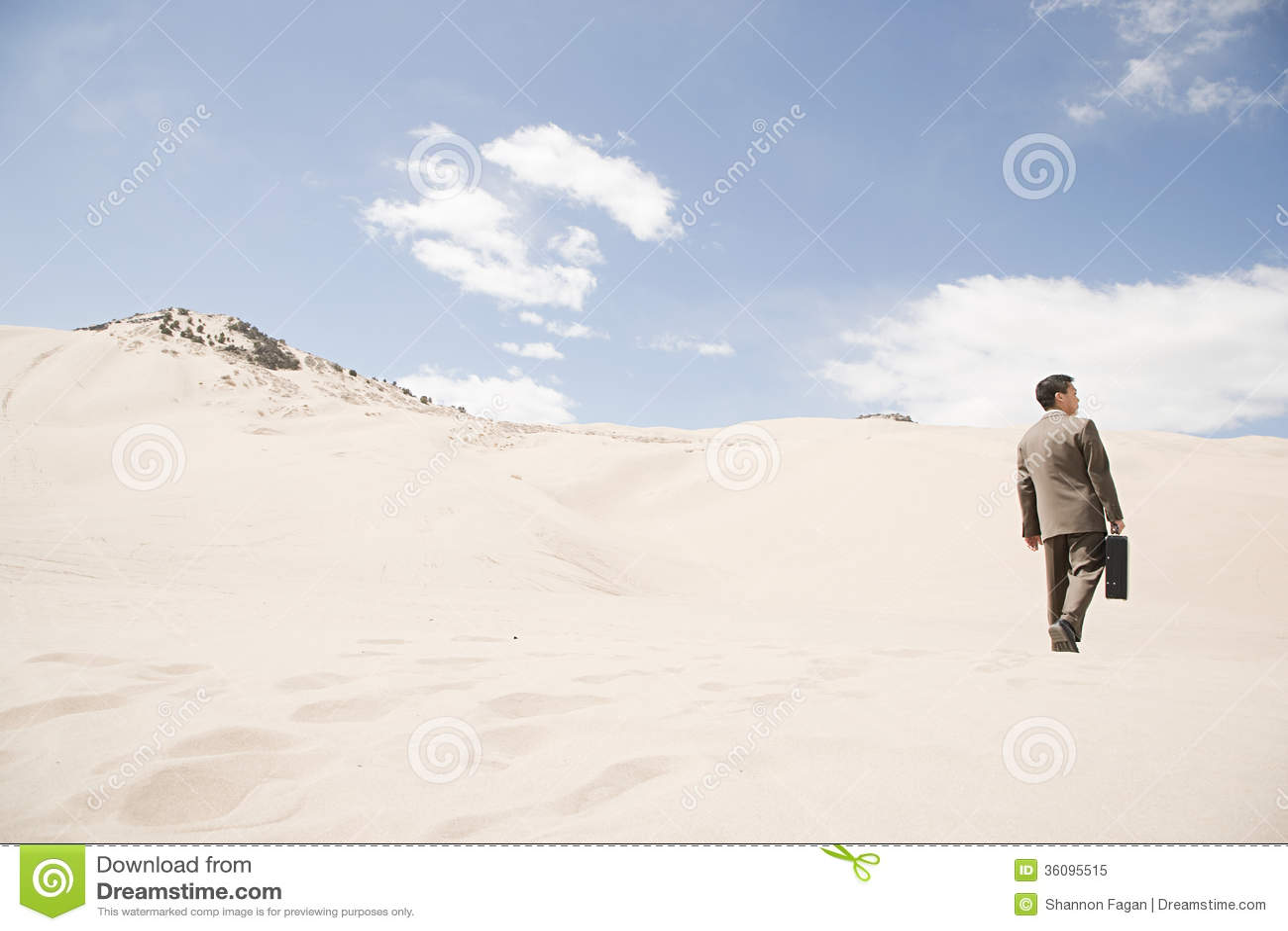 Homem de negócios no deserto