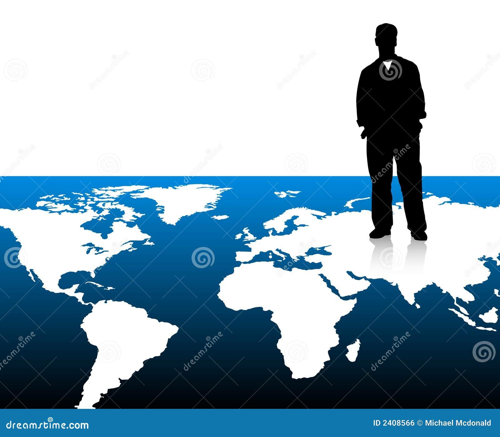 Homem de negócios no mapa de mundo