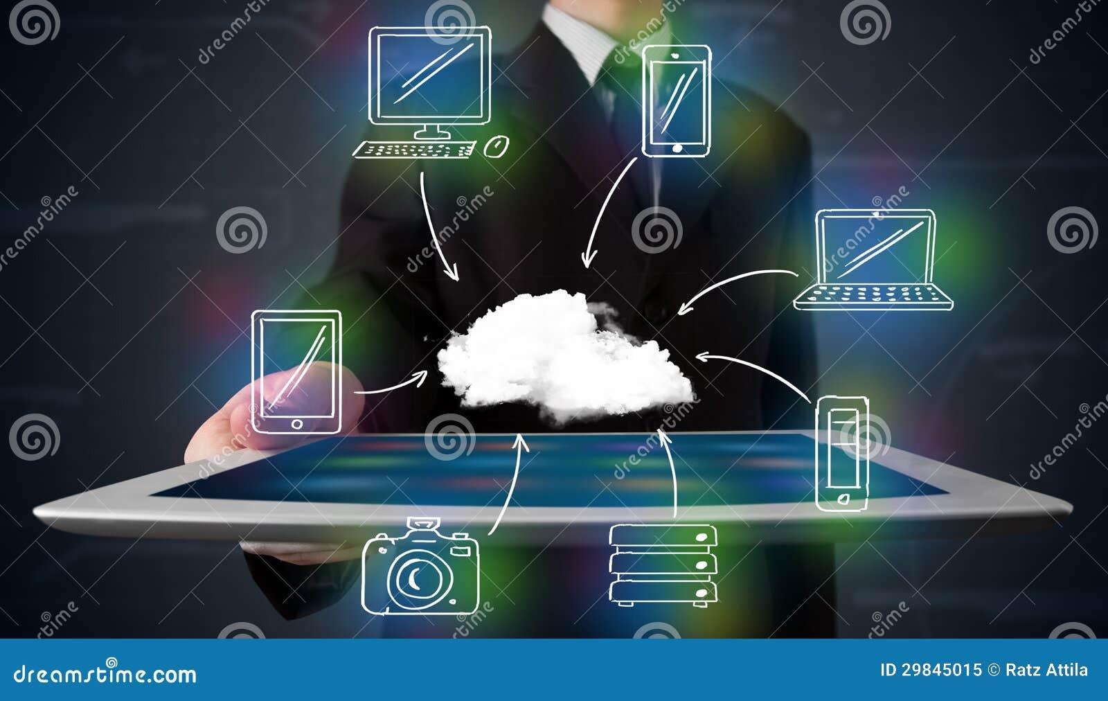 Homem de negócios que mostra a computação tirada mão da nuvem