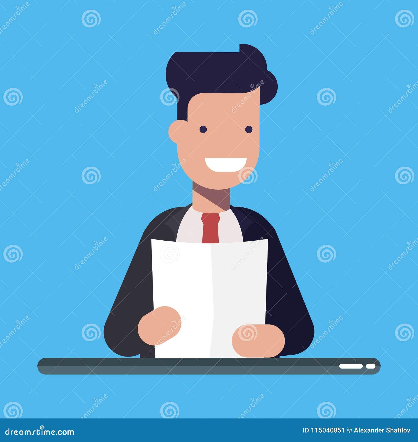 Homem de negócios ou gerente novo com um original ou uma folha de papel nas mãos Illusration liso do vetor dos desenhos animados