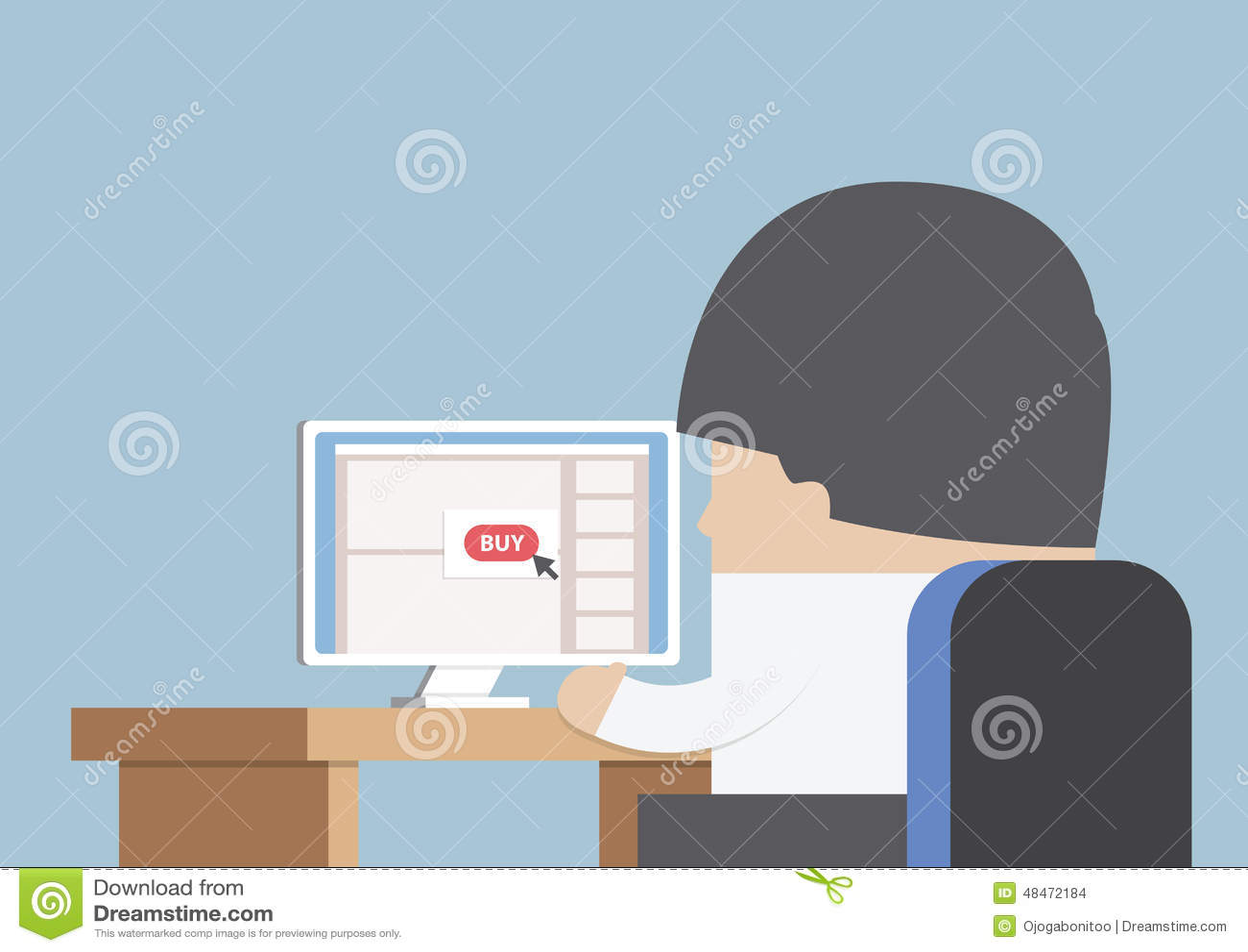 Homem de negócios que compra em linha na frente do computador