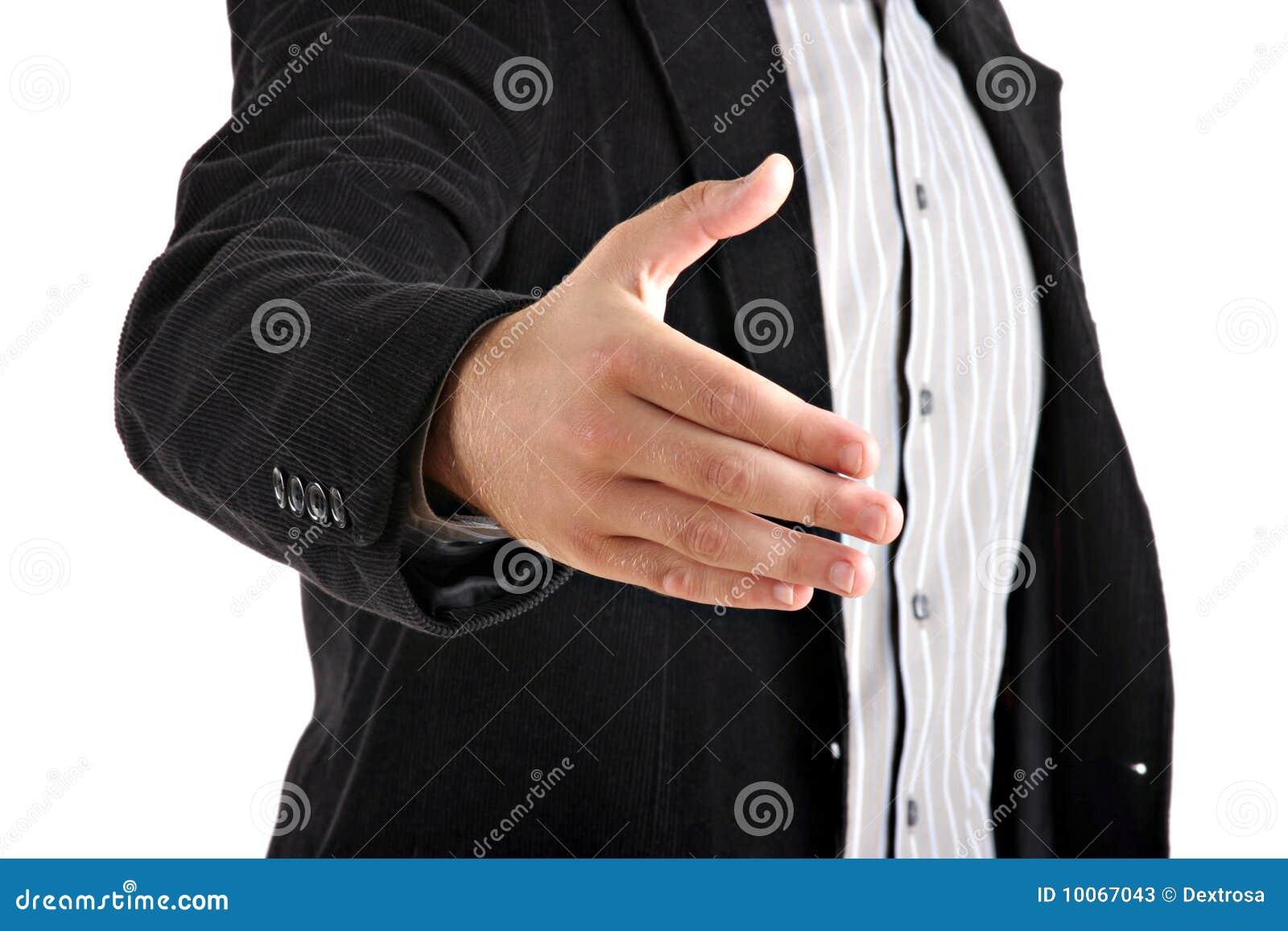Homem de negócios que dá a mão