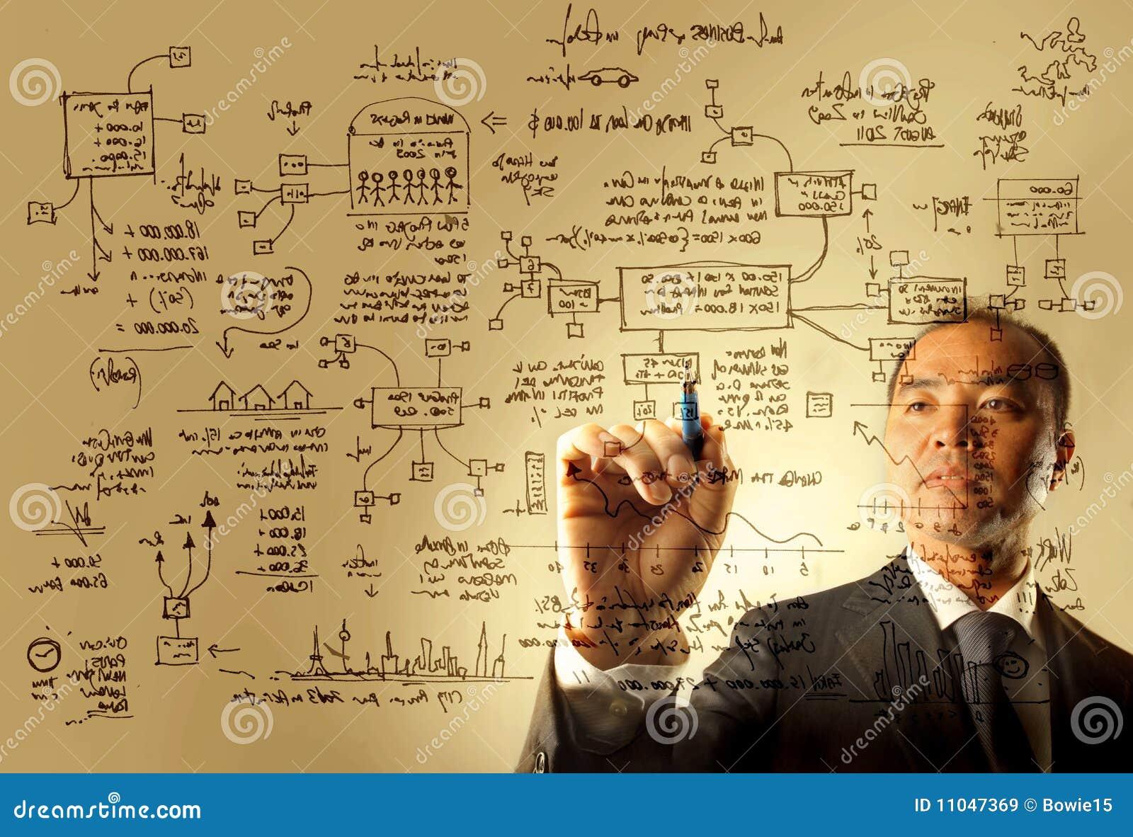 Homem de negócios que desenha um gráfico da logística
