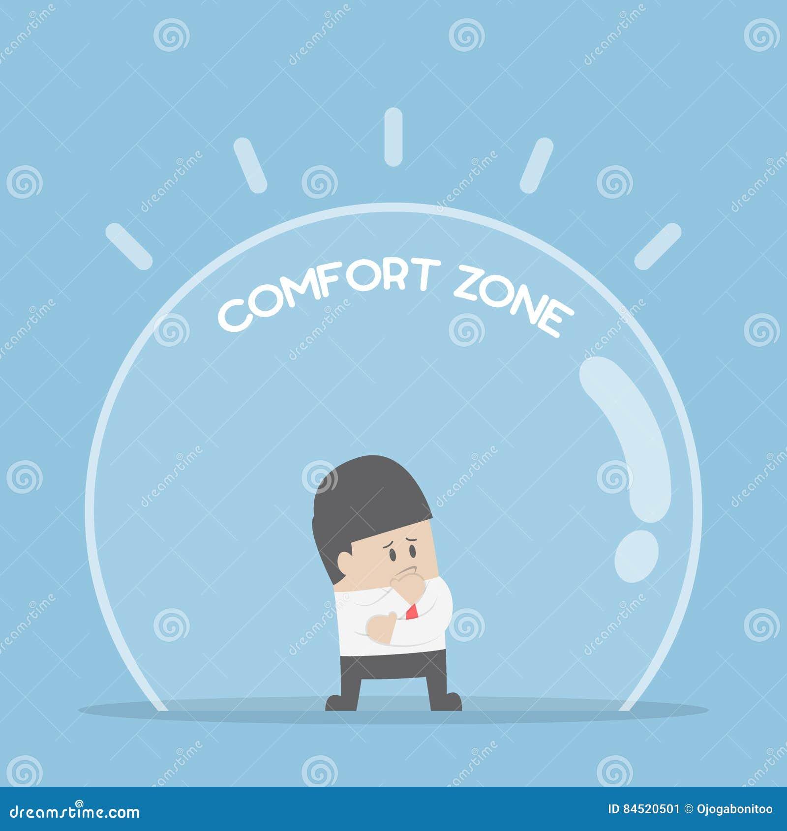 Homem de negócios que está na zona de conforto