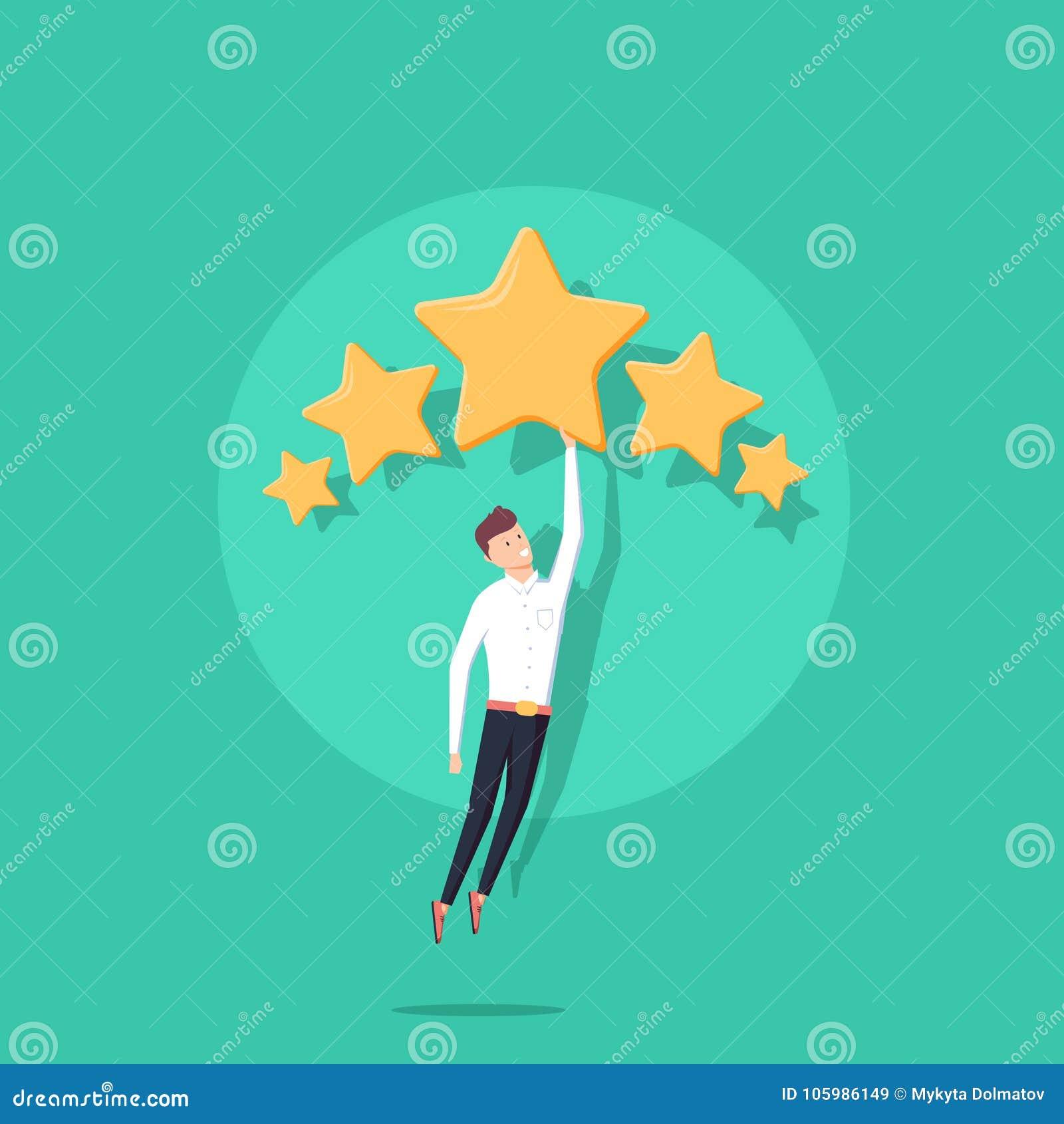 Homem de negócios que guarda cinco estrelas do ouro para o conceito da avaliação, da qualidade e do negócio Vetor, ilustração, li