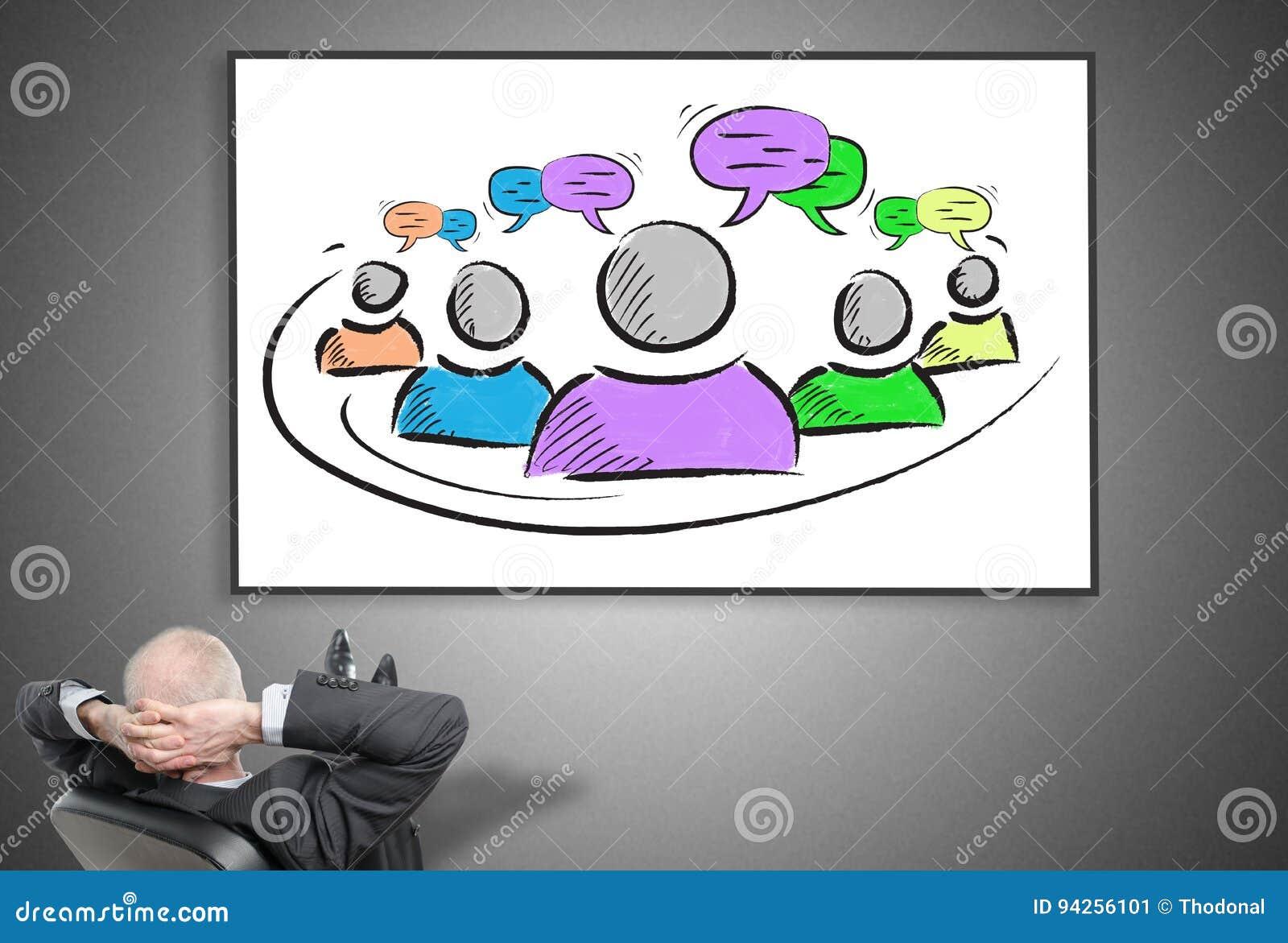Homem de negócios que olha o conceito da liderança