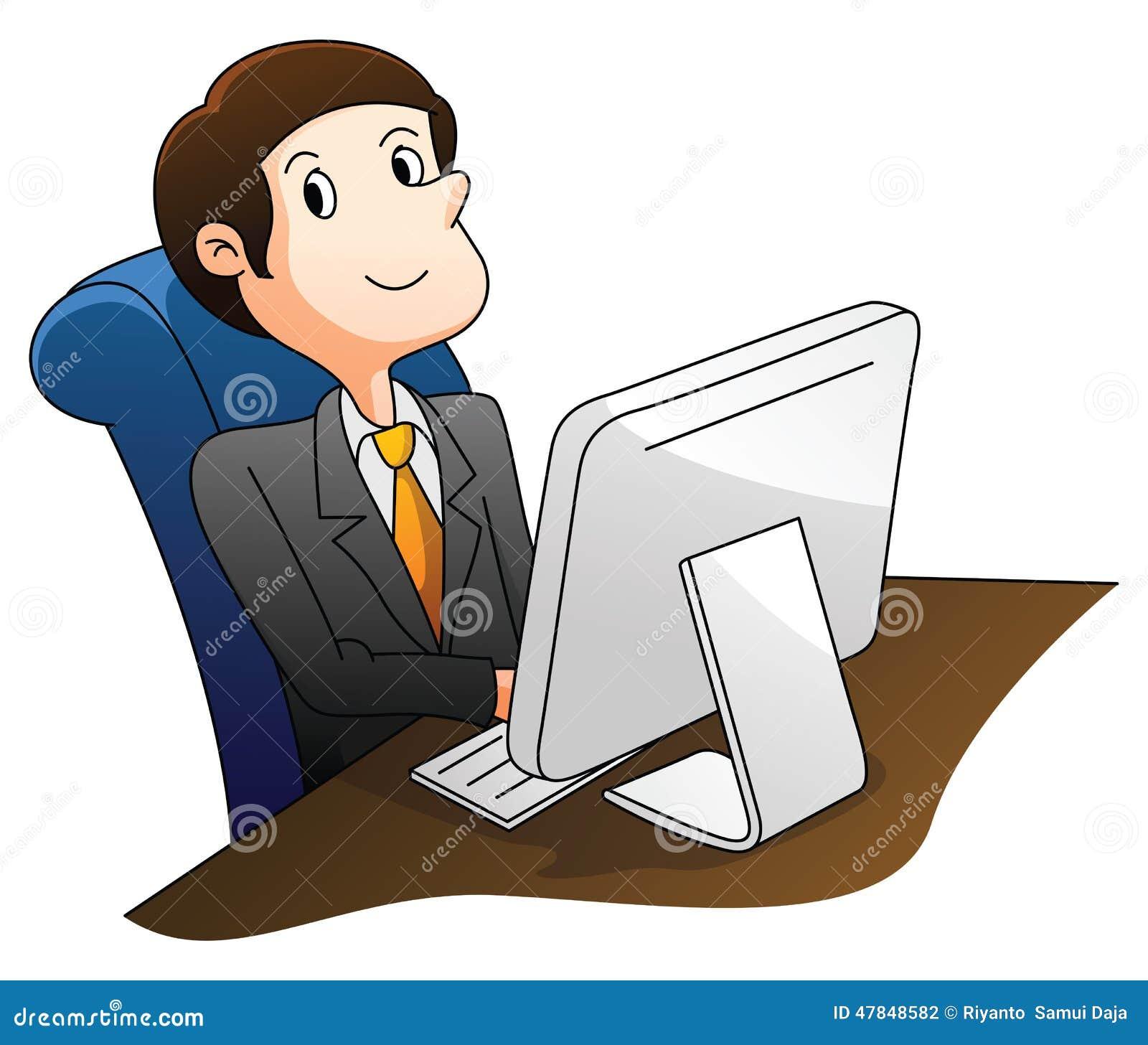 Homem de negócios que usa o computador