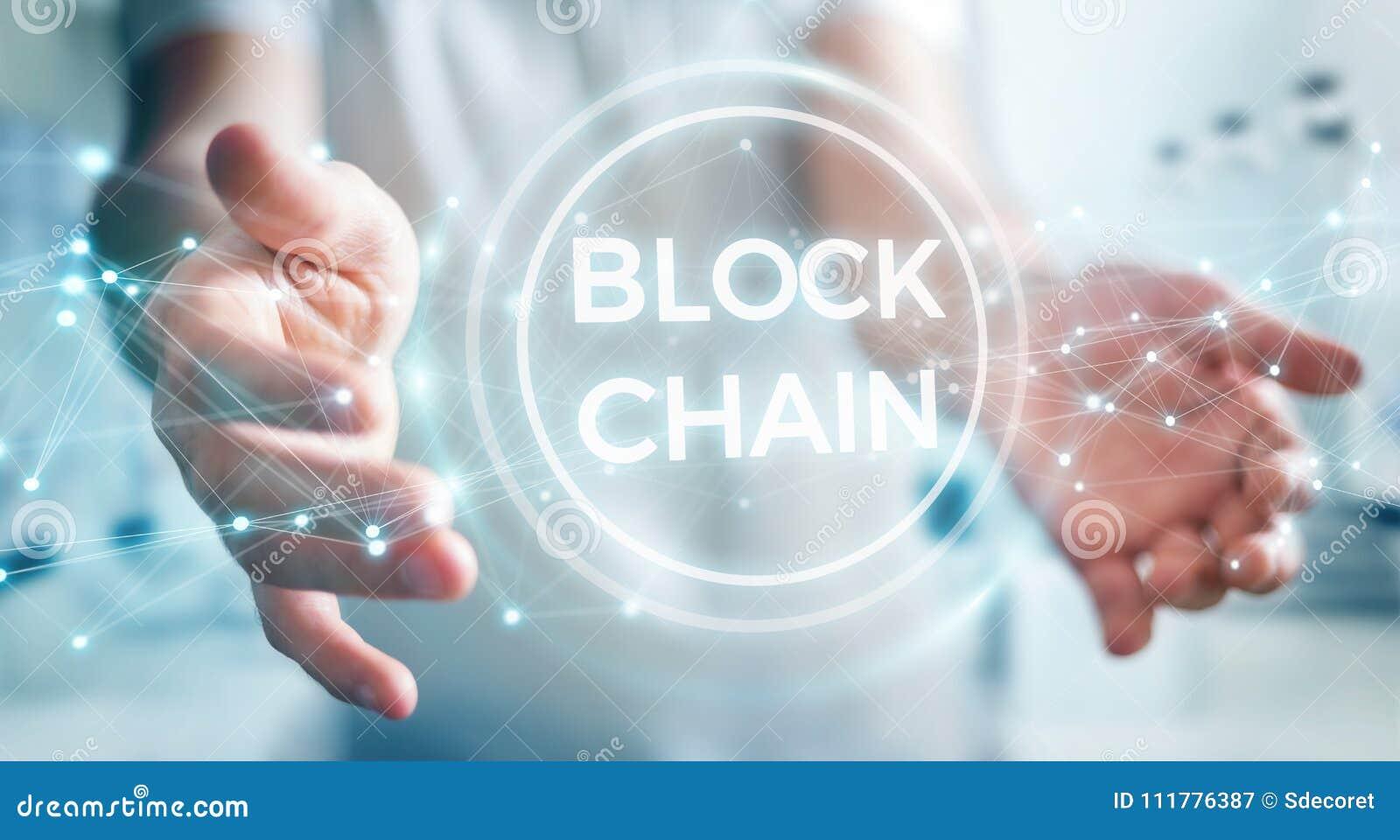 Homem de negócios que usa o renderi da relação 3D do cryptocurrency do blockchain