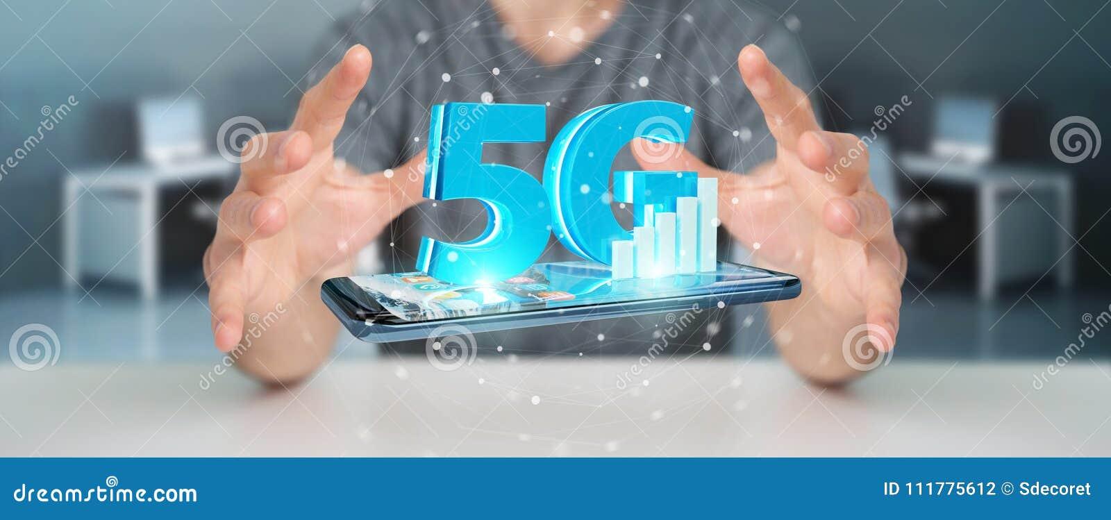 Homem de negócios que usa a rede 5G com rendição do telefone celular 3D