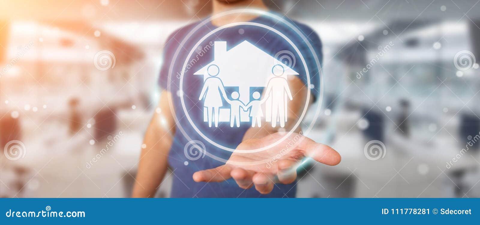Homem de negócios que usa a rendição da aplicação 3D do seguro do cuidado da família