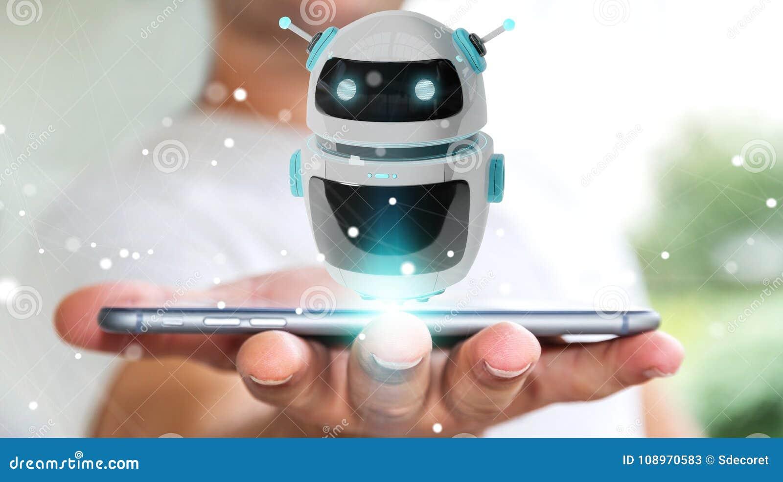 Homem de negócios que usa a rendição digital da aplicação 3D do robô do chatbot
