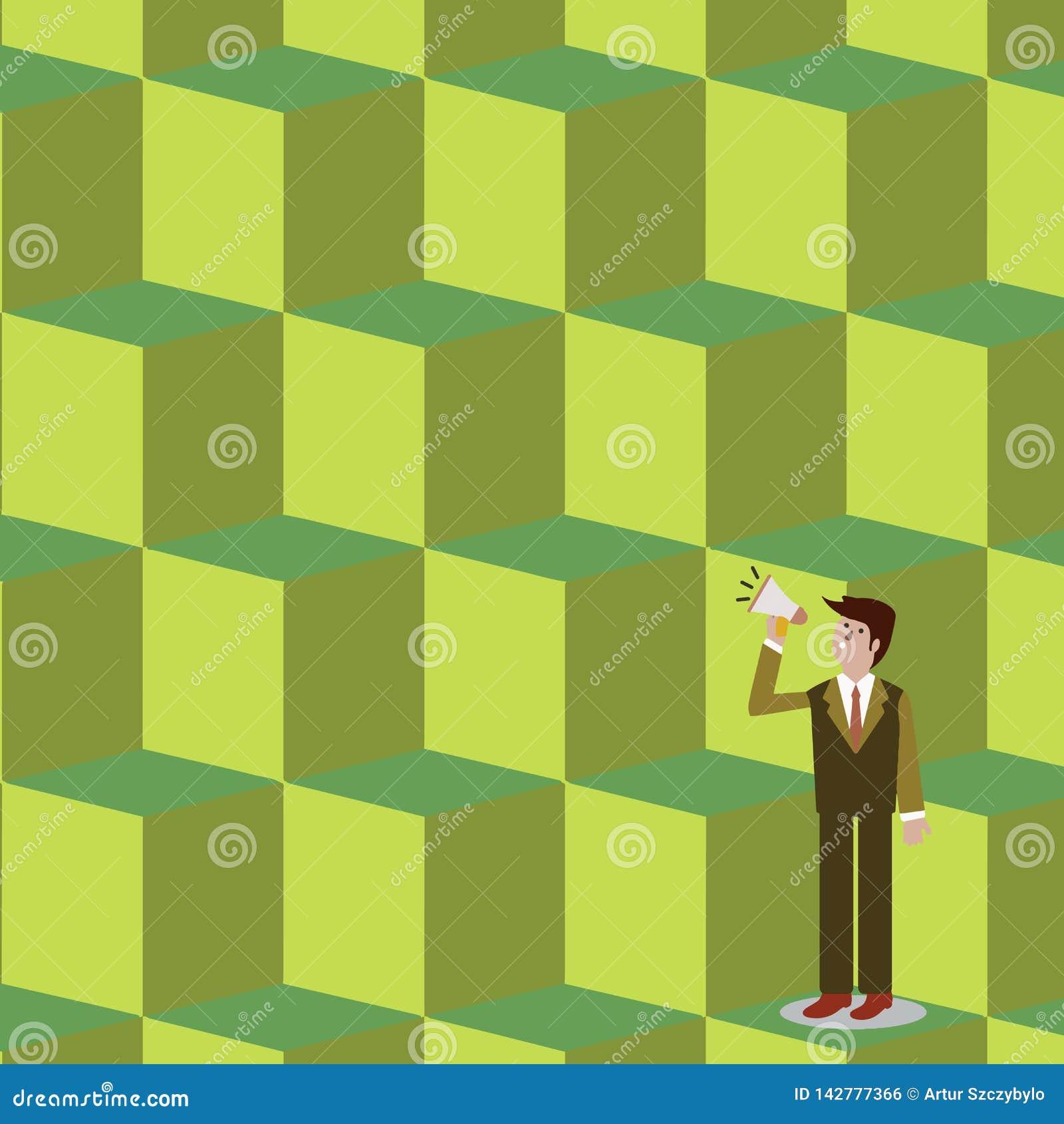 Homem de negócios Standing, guardando e falando no megafone com ícone sadio Homem no terno que olha acima e que fala sobre