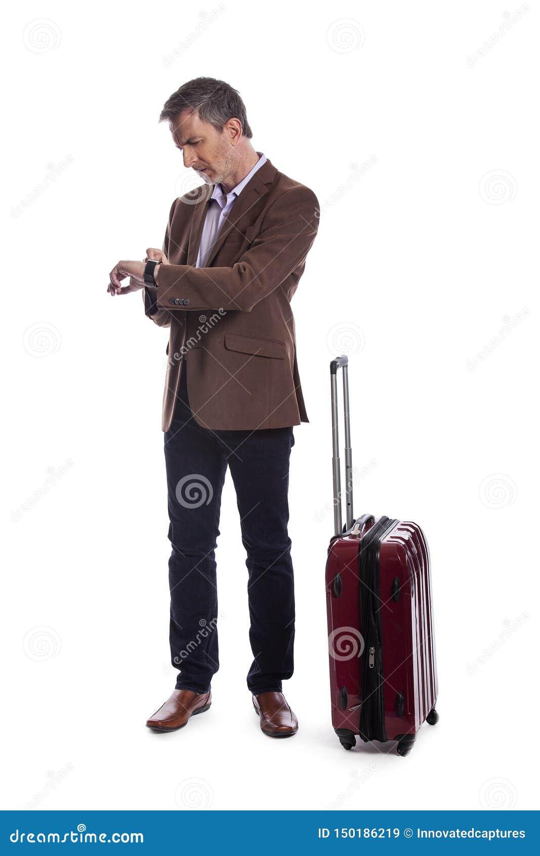Homem de negócios Stressed no voo atrasado ou cancelado para a viagem de negócios