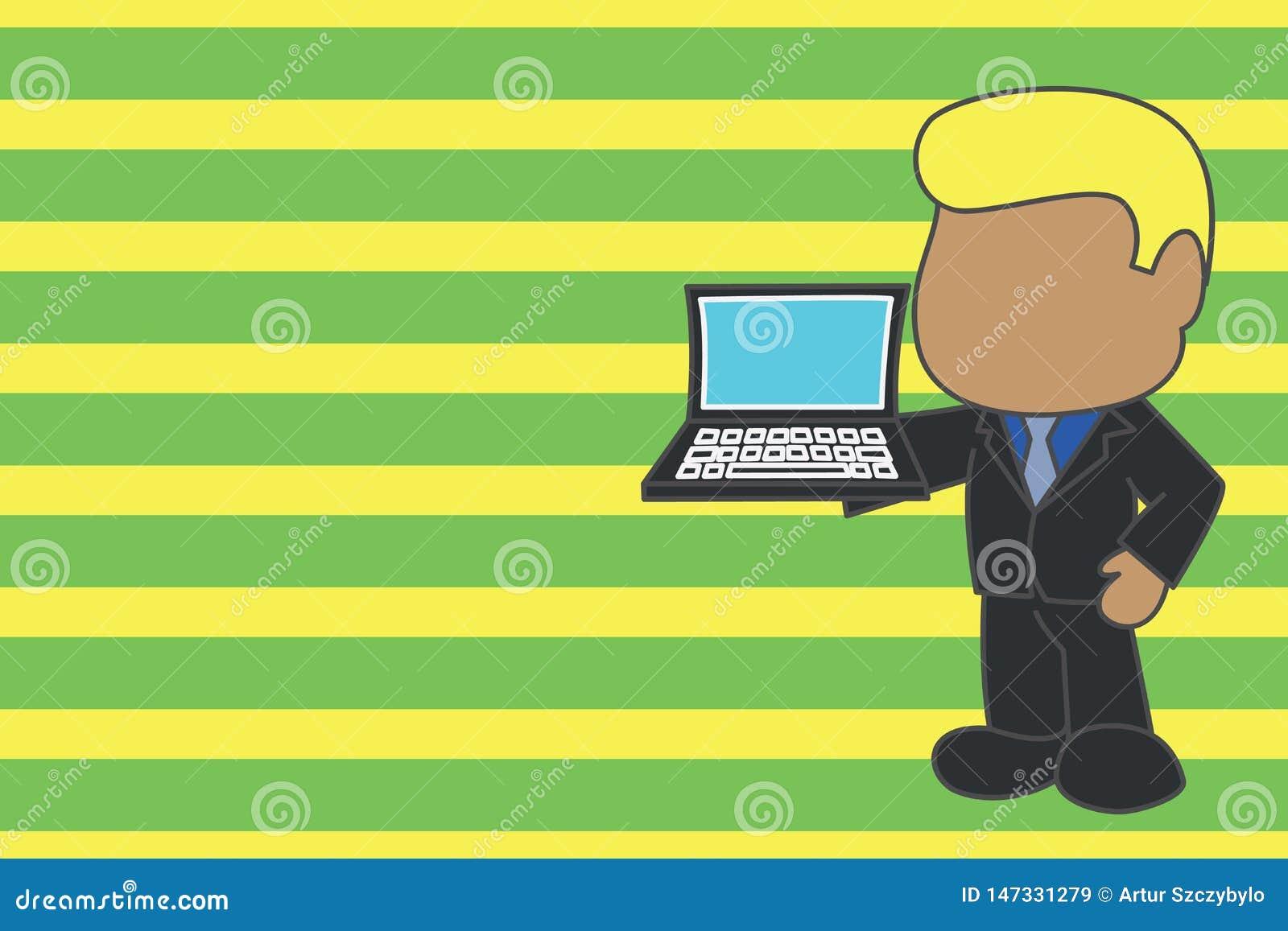 Homem de neg?cios profissional estando que guarda a gravata vestindo do terno do lado aberto do assistente do port?til Exibi??o d