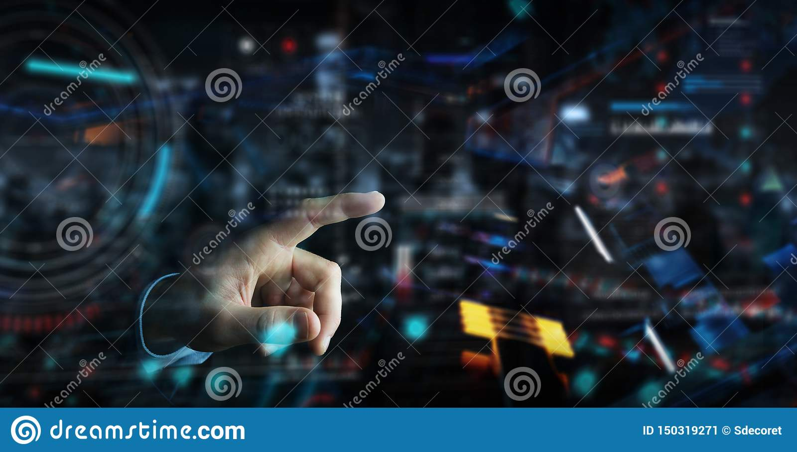 Homem de neg?cios que usa a rela??o tecnologico digital com rendi??o dos dados 3D