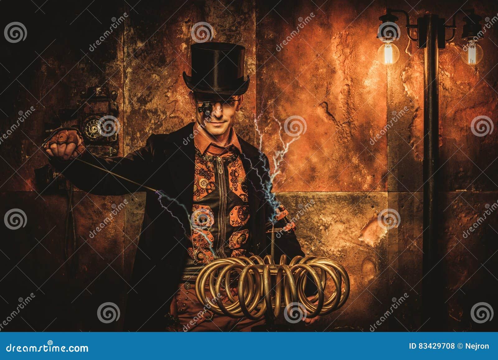 Homem de Steampunk com a bobina de Tesla no fundo do steampunk do vintage