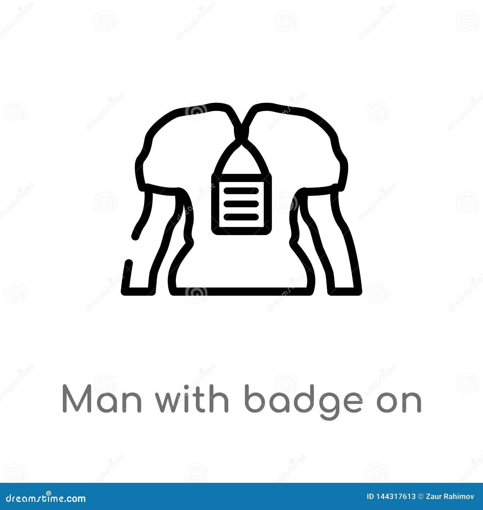 Homem do esboço com crachá em seu ícone do vetor do cheast linha simples preta isolada ilustra??o do elemento do conceito dos sin