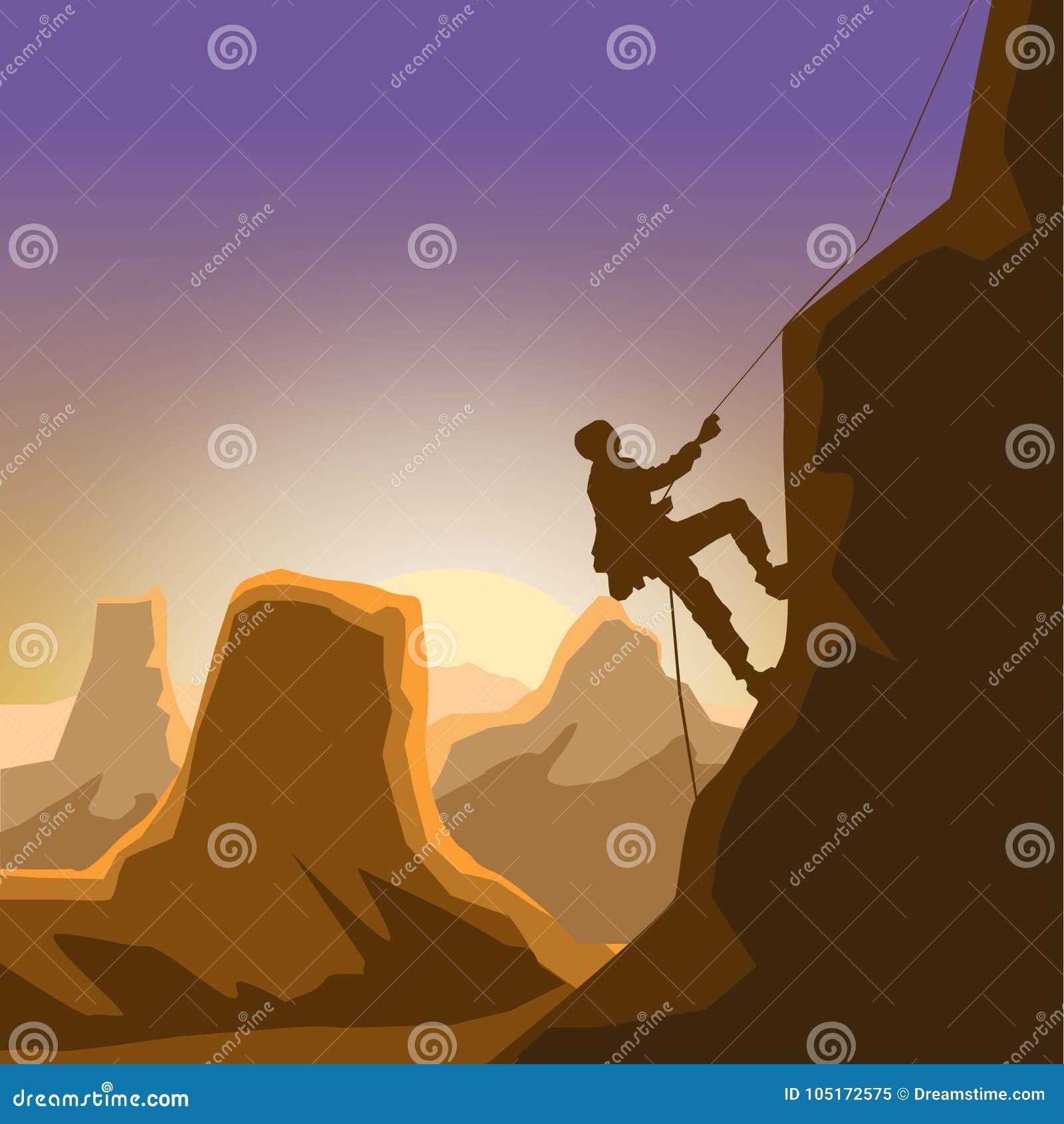 Homem do montanhista do alvorecer da garganta da rocha que escala apenas
