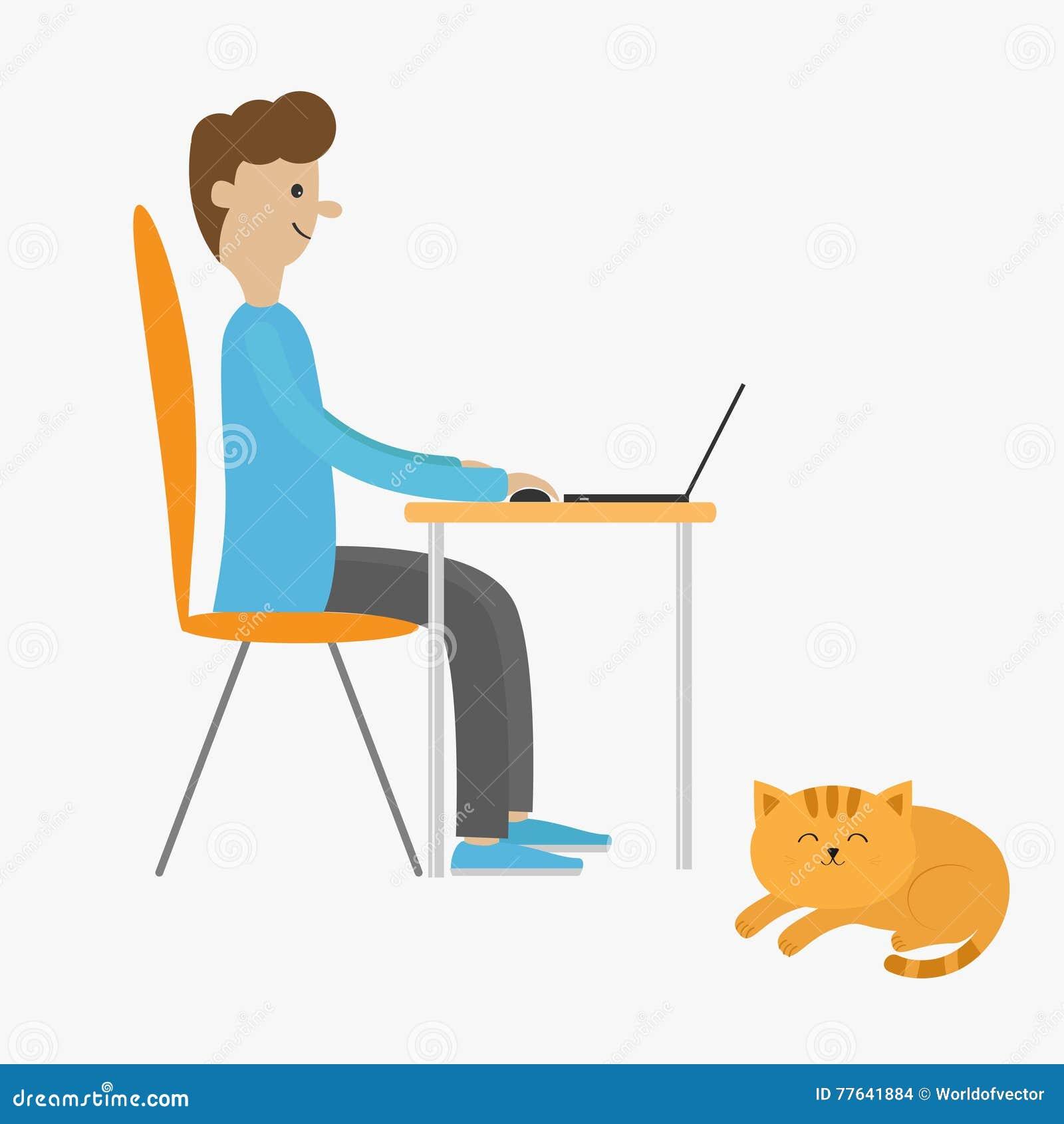 Homem do perfil na mesa com leptop Indivíduo que trabalha no computador Menino que senta-se na tabela da cadeira Gato de encontro